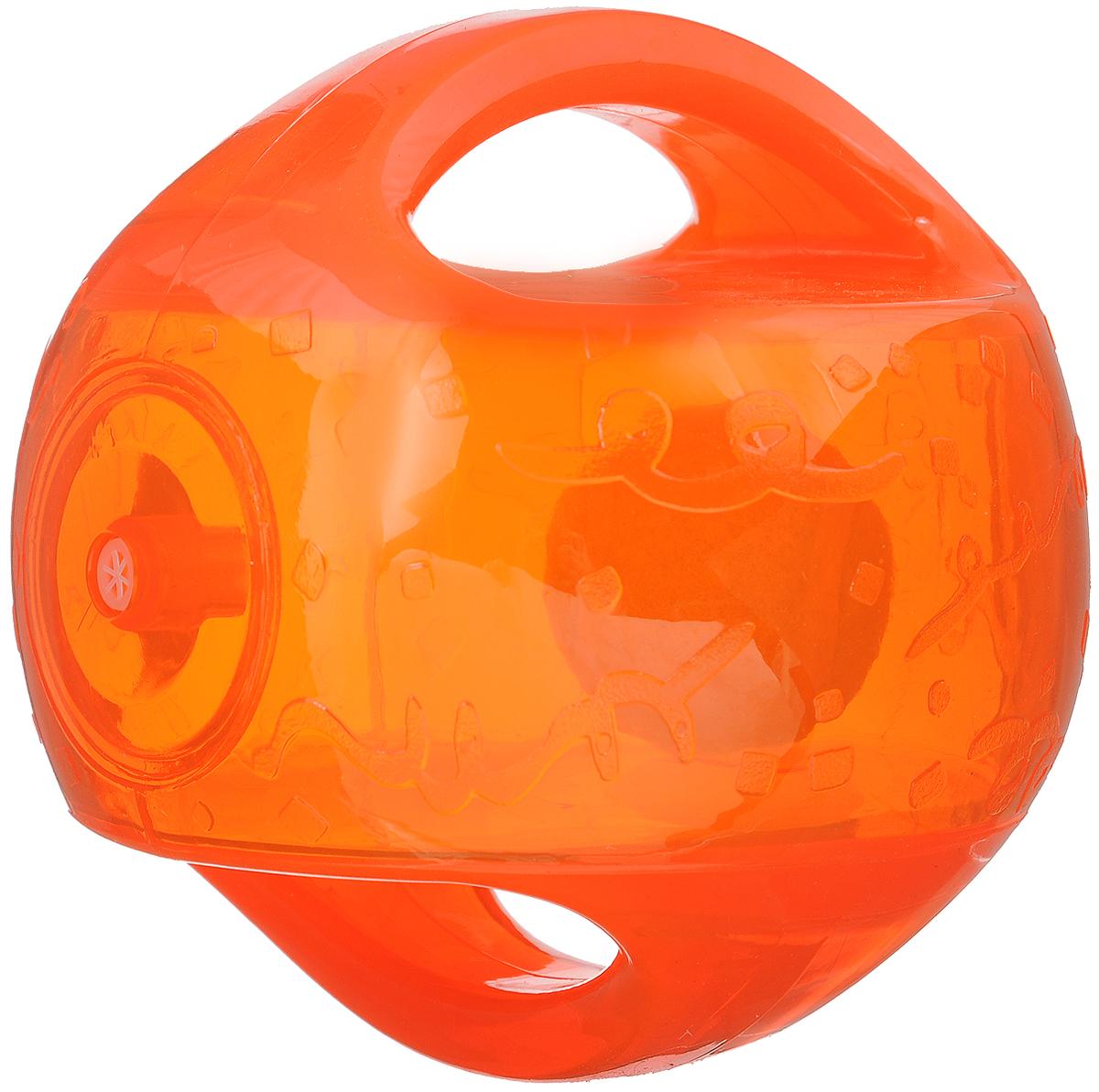 Игрушка для собак Kong Мячик, с пищалкой, цвет: оранжевый. 12 х 12 х 12 смTMB2E_прозрачный, оранжевыйИгрушка для собак Kong Мячик, выполненная из высококачественного каучука, представляет собой мяч 2 в 1. Теннисный мяч, расположенный внутри, гремит и будет привлекать внимание вашего питомца, побуждая достать его. Просто потрясите игрушку. Удобные ручки служат для поднятия. Также изделие оснащено пищалкой. С такой игрушкой вы сможете играть в захватывающие и активные игры с вашей собакой. Она прекрасно подходит для животных среднего и крупного размера, с сильными челюстями и для использования в качестве дрессировочного предмета.