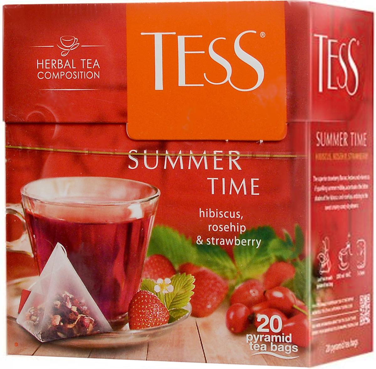 Tess Summer Time травяной чай с гибискусом, шиповником и клубникой в пирамидках, 20 шт0120710Травяной чай в пирамидках Tess Summer Time обладает великолепным клубничным ароматом, праздничным и ярким, как сверкающий летний полдень, который оттеняет кисловатые ноты гибискуса и шиповника, увлекая в сладкую пену карамельных грез.
