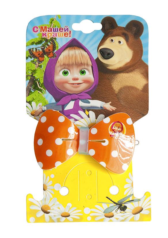 Маша и медведь Заколка Бант цвет оранжевый