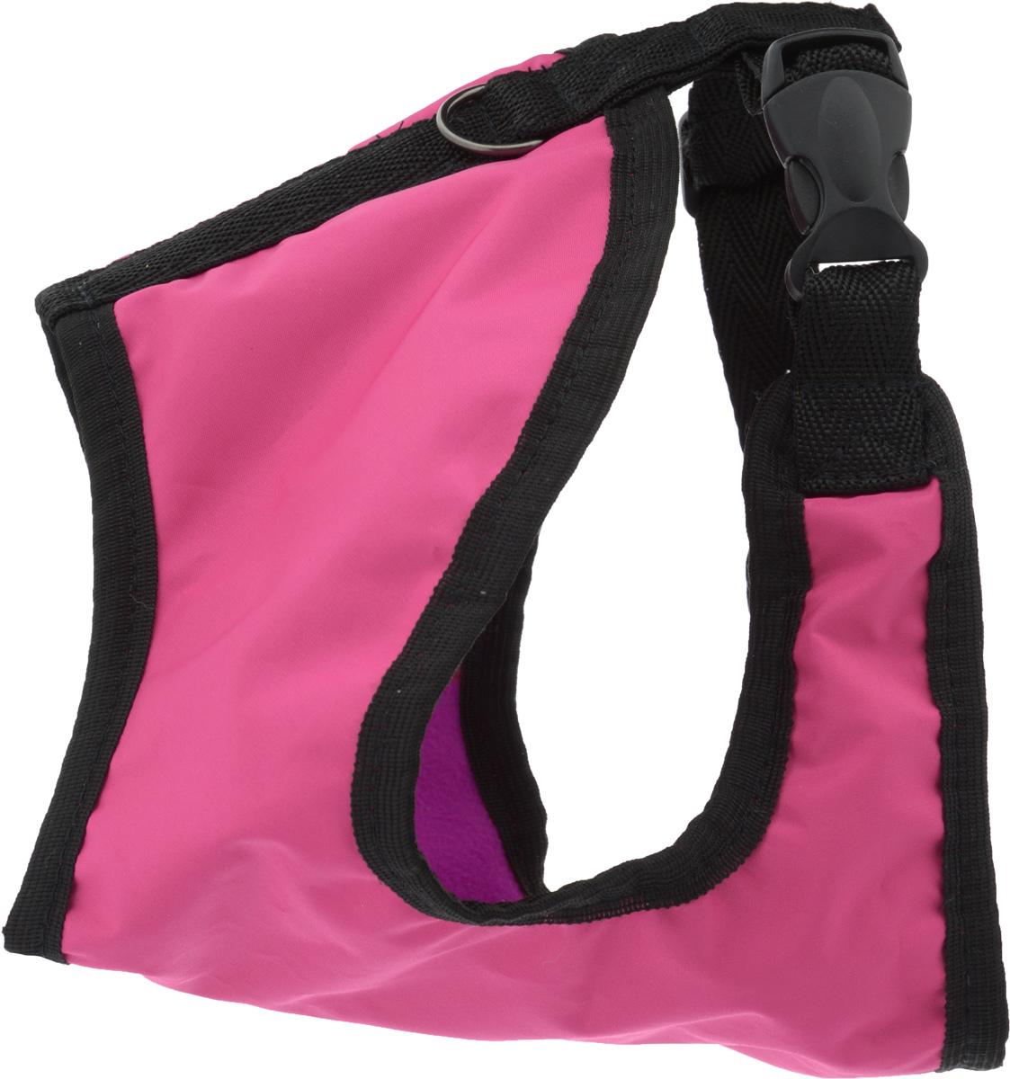Шлейка для собак ЗооМарк, цвет: фуксия, розовый флис, черный. Размер: 2Ш-2_розовыйШлейка для собак ЗооМарк выполнена из оксфорда, а на подкладке используется флис. Изделие оснащено специальным крючком, к которому вы с легкостью сможете прикрепить поводок. Шлейка имеет застежку фастекс и регулируется при помощи пряжки. Шлейка - это альтернатива ошейнику. Правильно подобранная шлейка не стесняет движения питомца, не натирает кожу, поэтому животное чувствует себя в ней уверенно и комфортно. Изделие отличается высоким качеством, удобством и универсальностью. Обхват груди: 23-28 см. Длина спинки: 16,5 см. Ширина ремней: 2 см.