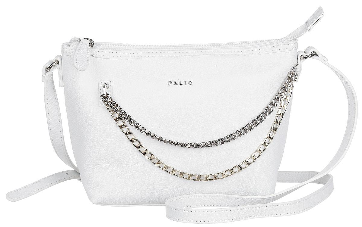 Сумка женская Palio, цвет: белый. 14381A-06514381A-065 whiteСтильная сумка Palio, выполненная из натуральной кожи с зернистой фактурой, оформлена металлической фурнитурой и символикой бренда. Изделие застегивается на застежку-молнию. Внутри сумки расположены два накладных кармашка для мелочей и врезной карман на молнии. На задней стороне сумки расположен врезной карман на молнии. Изделие оснащено плечевым ремнем регулируемой длины. К сумке прилагается фирменный чехол для хранения. Элегантная сумка прекрасно дополнит ваш образ.