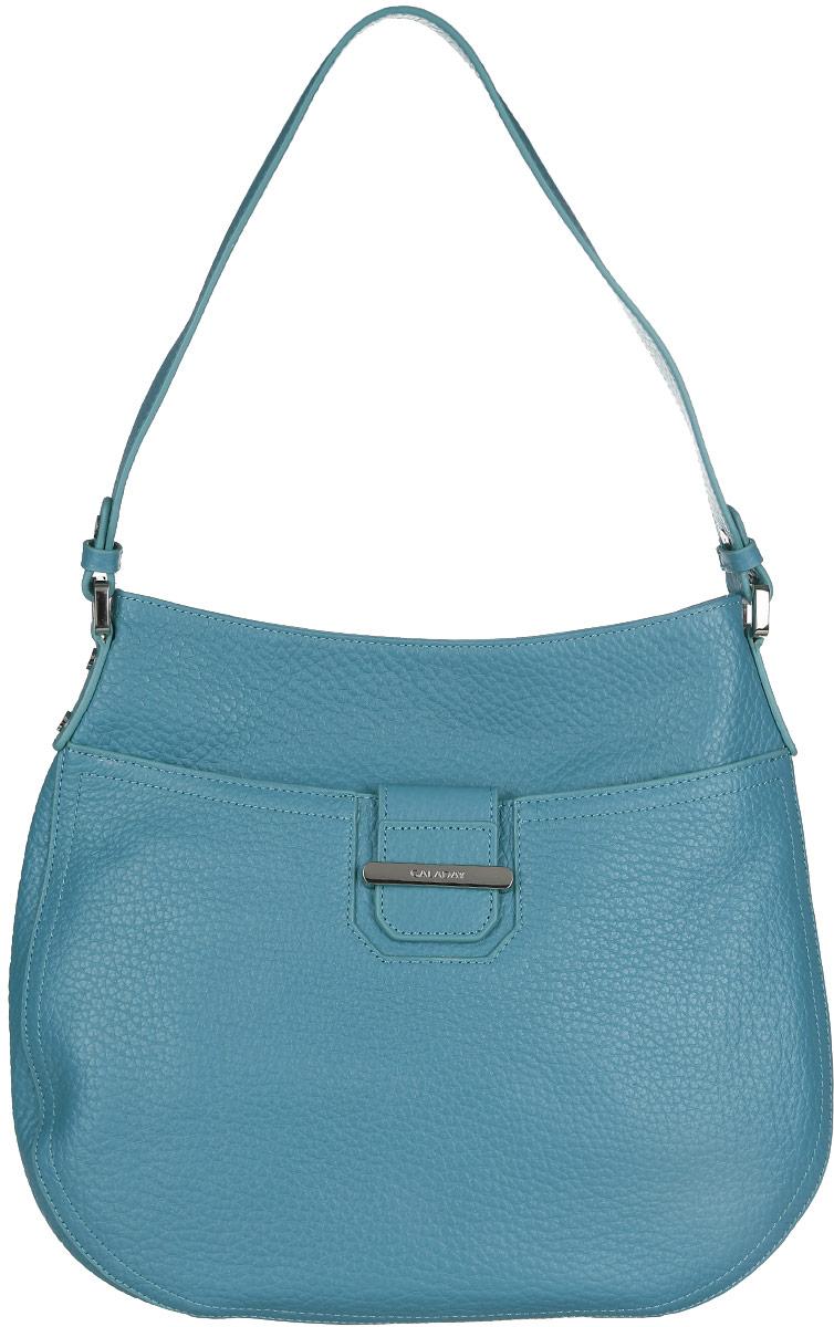 Сумка женская Galaday, цвет: бирюзовый. GD4661GD4661 blueСтильная женская сумка Galaday выполнена из натуральной кожи с фактурным тиснением и оформлена декоративным хлястиком, продетым в скобу с символикой бренда. Сумка состоит из одного отделения и закрывается на пластиковую застежку-молнию. Отделение содержит карман-средник на молнии, врезной карман на молнии и два нашивных кармана для телефона и мелочей. Лицевая сторона дополнена прорезным карманом на магнитной кнопке. На тыльной стороне предусмотрен врезной карман на молнии. Сумка оснащена одной удобной ручкой, высота которой позволяет носить ее на сгибе руки или на плече. Прилагается фирменный текстильный чехол для хранения изделия. Практичная и яркая сумка внесет элегантные нотки в ваш образ и подчеркнет ваше отменное чувство стиля.