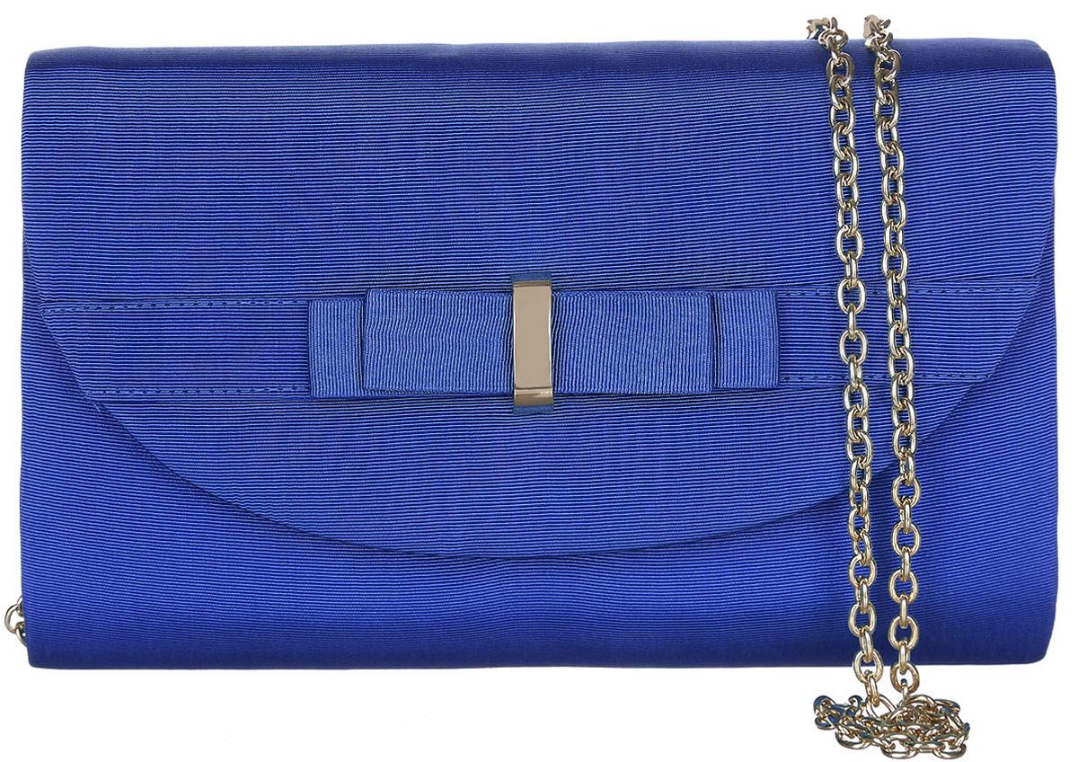 Клатч Eleganzza, цвет: синий. ZZ-5394ZZ-5394Стильный клатч Eleganzza, изготовленный из текстиля, оформлен кокетливым бантиком. Изделие застегивается клапаном на магнитную кнопку. Внутри сумки расположен накладной кармашек для мелочей. Изделие оснащено плечевым ремнем-цепочкой. Элегантный клатч прекрасно дополнит ваш образ.