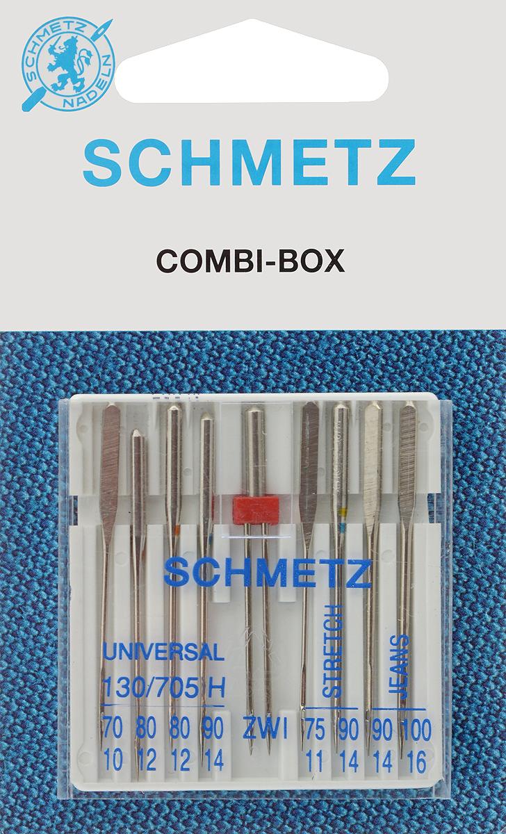 Иглы для бытовых швейных машин Schmetz, комбинированные, 9 шт9829Комбинированные иглы Schmetz, выполненные из никеля, подходят для бытовых швейных машин всех марок. В набор входят универсальные иглы, которые идеально подходят для всех тканых материалов, а также специальные иглы для трикотажа и джинсы и двойная игла для декоративной отделки. Иглы имеют небольшой закругленный кончик, что делает их универсальными в использовании с различными видами тканей.В комплекте пластиковый футляр для переноски и хранения.Система универсальных игл: 130/705 H.Номера игл: - универсальные 70, 80 (2 шт.), 90; - для трикотажа: 75, 90;- для джинсы: 90, 100.