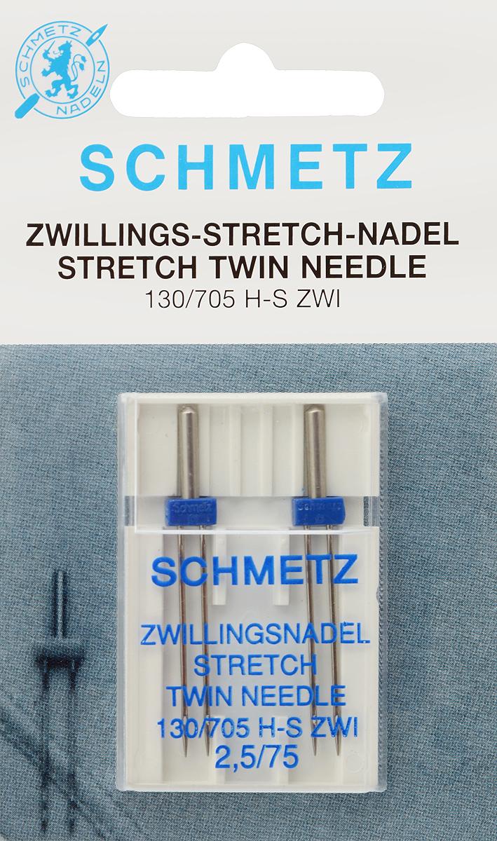 Иглы для бытовых швейных машин Schmetz, для трикотажа, двойные, №75, 2,5 мм, 2 шт69:25.FB2.DMSСпециальные двойные иглы Schmetz, выполненные из никеля, подходят для бытовых швейных машин всех марок. Они предназначены для декоративной отделки и выполнения защипов на всех трикотажных материалах, а также для подшивания низа изделий. В комплекте пластиковый футляр для переноски и хранения. Система игл: 130/705 H-S ZWI. Номер иглы: 75. Расстояние между иглами: 2,5 мм.