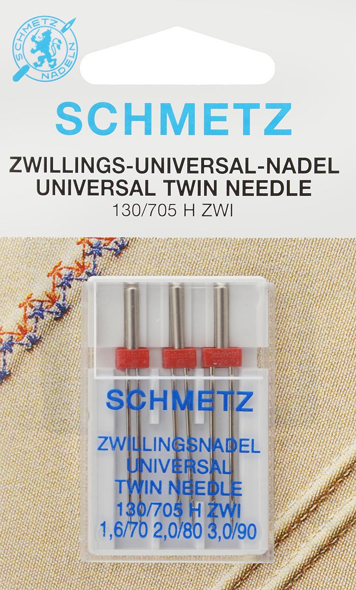 Иглы для бытовых швейных машин Schmetz, универсальные, двойные, №70, 80, 90, 3 шт9829Универсальные двойные иглы Schmetz, выполненные из никеля, подходят для бытовых швейных машин всех марок. Они предназначены для декоративной отделки и выполнения защипов на всех тканых материалах, а также для подшивания низа изделий из трикотажа.В комплекте пластиковый футляр для переноски и хранения.Система игл: 130/705 H ZWI.Номера игл: 70, 80, 90.Расстояние между иглами: 1,5 мм, 2 мм, 3 мм.
