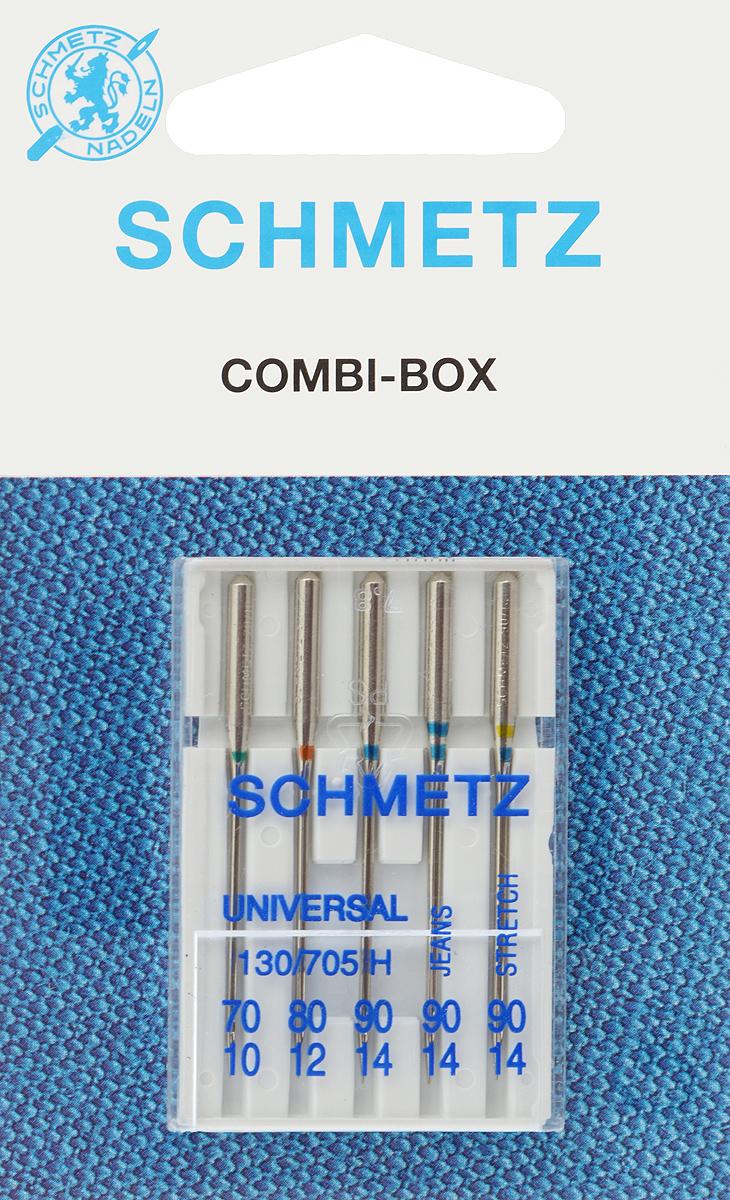 Иглы для бытовых швейных машин Schmetz, комбинированные, 5 шт22:15.2.VVSКомбинированные иглы Schmetz, выполненные из никеля, подходят для бытовых швейных машин всех марок. В набор входят универсальные иглы, которые идеально подходят для всех тканых материалов, а также специальные иглы для трикотажа и джинсы. Иглы имеют небольшой закругленный кончик, что делает их универсальными в использовании с различными видами тканей. каждая игла имеет свой цветовой код. В комплекте пластиковый футляр для переноски и хранения. Система универсальных игл: 130/705 H. Номера игл: - универсальные 70, 80, 90; - для трикотажа: 90; - для джинсы: 90.