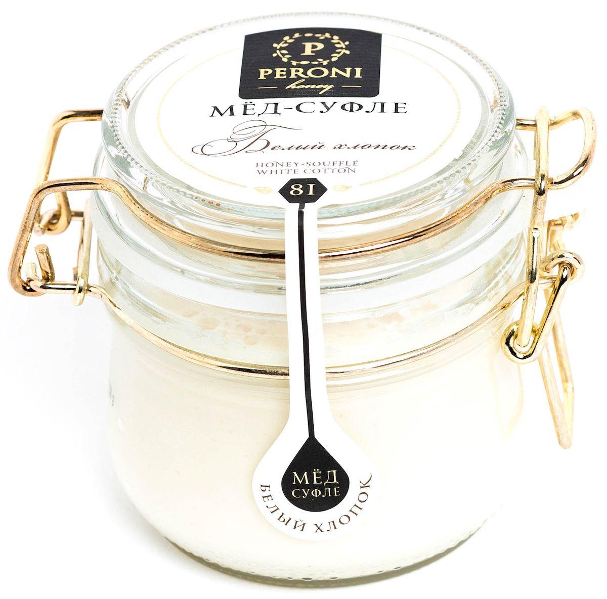 Peroni Белый хлопок мёд-суфле, 230 г81Мёд согревающего молочного оттенка с мягкой бархатистой текстурой. Аромат мёда тонкий, выразительный, комплексный. Преобладают ароматы летних цветов, согретой солнцем розы, сливочные оттенки. Ощущение легчайшего шелковистого мусса во рту сопровождается насыщенным сливочным вкусом с нежной пряной ноткой. Доминирует всепоглощающая сладость и тепло. Именно поэтому, если вам нездоровится зимой или в межсезонье, хлопковый мед будет прекрасным компаньоном! Он также является источником большого количества витаминов и питательных веществ, натуральным природным лекарством от кашля и болезней органов дыхания, укрепляет иммунитет. Употребление хлопкового мёда будет способствовать скорому выздоровлению и вернет вас к активной жизни. Для получения мёда-суфле используются специальные технологии. Мёд долго вымешивается при определенной скорости, после чего его выдерживают при температуре 12-14°С, тем самым закрепляя его нужную консистенцию. Все полезные свойства...