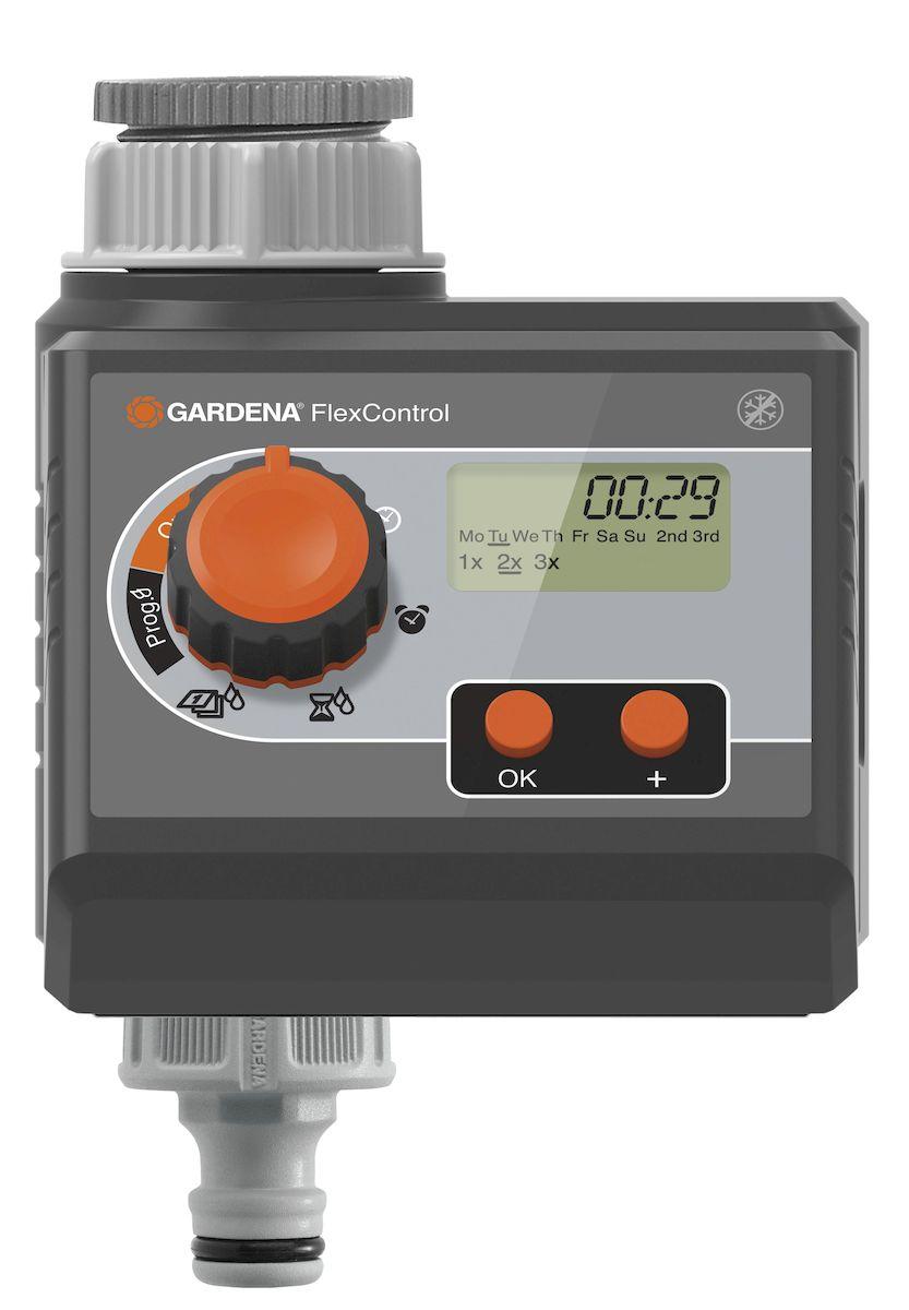 Таймер подачи воды Gardena FlexControl01883-29.000.00Таймер подачи воды Gardena FlexControl процесс полива проще. Таймер подачи воды подключается напрямую к водопроводному крану и надежно управляет поливом в соответствии с выбранным временем и продолжительностью. Это означает, что вам никогда не нужно волноваться о поливе, будь то это будни или отпуск. Удобная съемная панель делает регулировку настроек проще. Наглядный дисплей: LCD дисплей четко отображает выбранные настройки, например, день недели, частота полива. Программирование является интуитивно понятным. Выберите время начала полива, продолжительность и частоту с помощью поворотного регулятора и двух кнопок. Вы также можете выбрать конкретные дни недели, когда должен осуществляться полив. Когда вы скорректируете настройки, таймер будет контролировать полив точно в соответствии с вашими пожеланиями. Для работы таймера требуется одна щелочная батарейка типа крона 9 В (не входит в комплект). Предусмотрена индикация уровня заряда батареи. Вы всегда будете знать, когда...