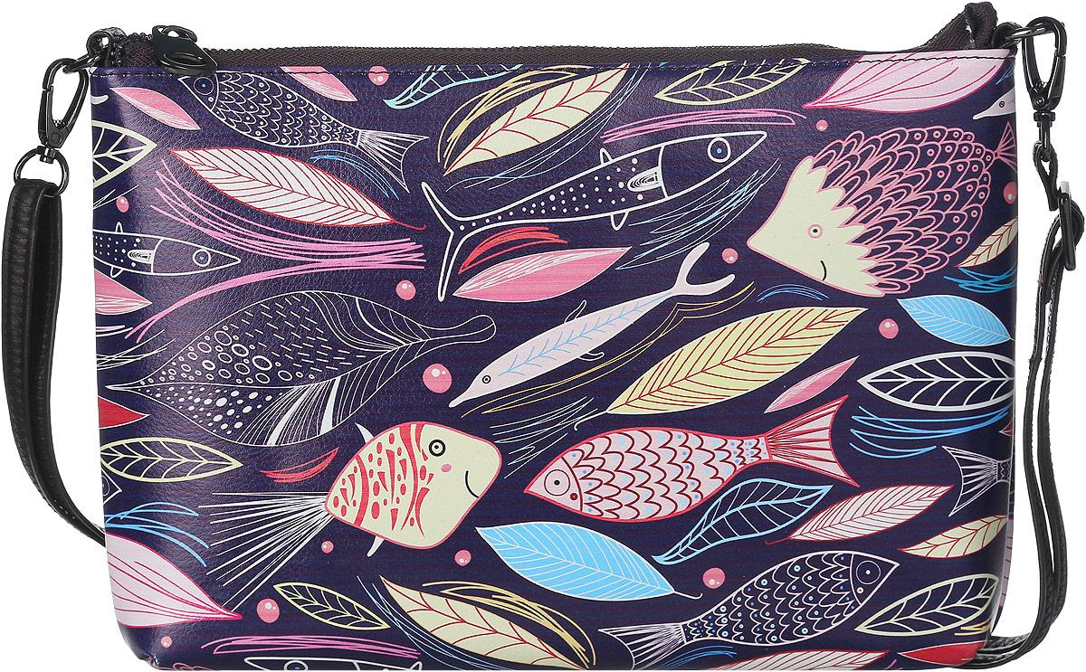 Клатч женский Модные истории, цвет: фиолетовый, мультиколор. 3/0225/602