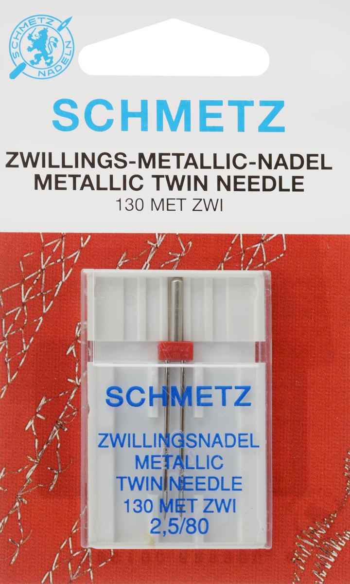 Игла для машинной вышивки Schmetz, для металлизированных нитей, двойная, №80, 2,5 мм64:25 2 SCSСпециальная игла Schmetz, выполненная из никеля, подходит для бытовых вышивальных машин всех марок. Игла предназначена для вышивания металлизированными нитями. В комплекте пластиковый футляр для переноски и хранения. Система иглы: 130 MET ZWI. Номер иглы: 80. Расстояние между иглами: 2,5 мм.