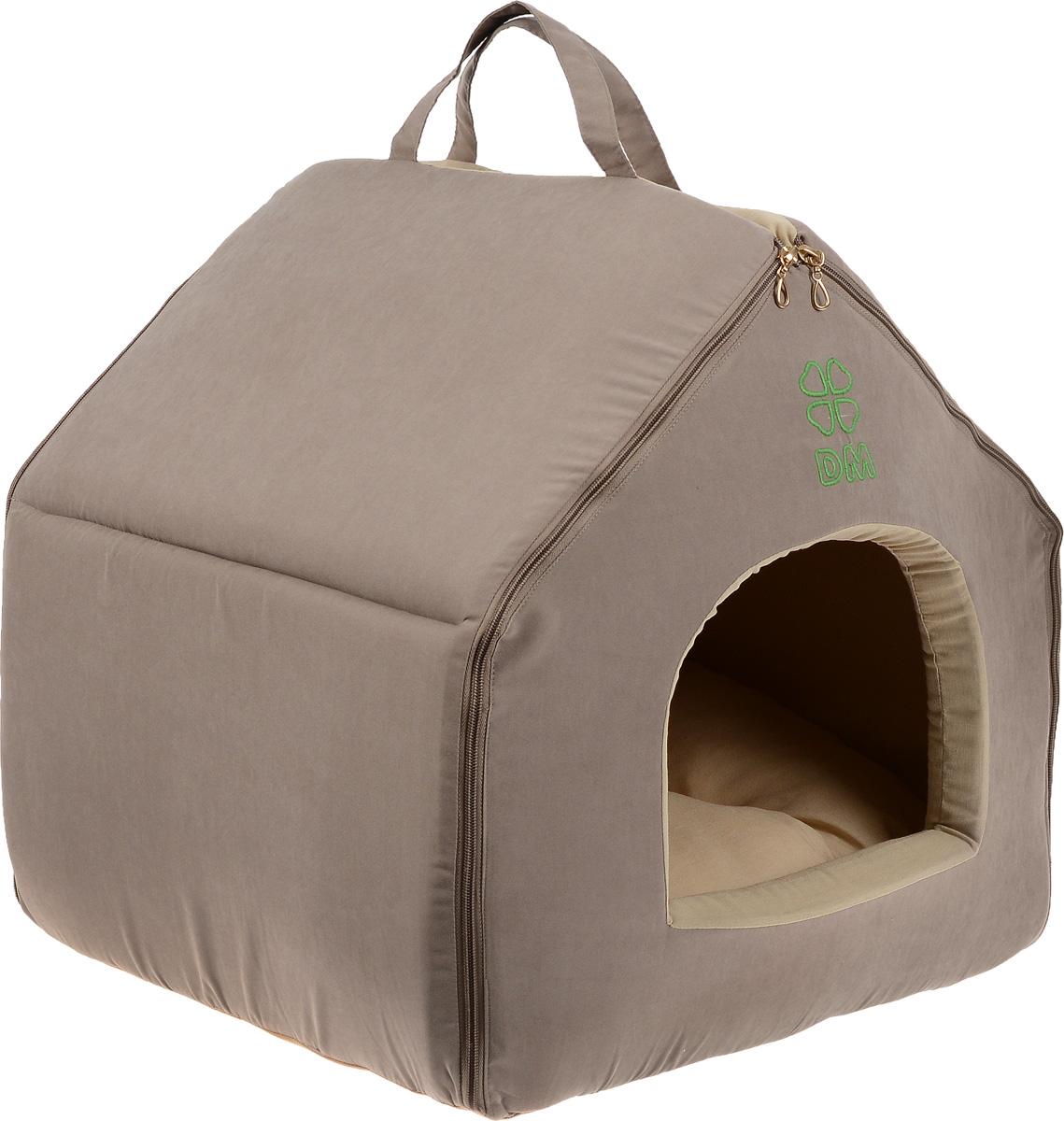 Домик-будка для животных Dogmoda Лофт, цвет: темно-бежевый, бежевый, 46 х 35 х 45 смDM-150356Домик-будка Dogmoda Лофт непременно станет любимым местом отдыха вашего домашнего животного. Изделие выполнено из высококачественного полиэстера, хлопка и холлофайбера. Наполнитель - поролон. В таком домике вашему любимцу будет мягко и тепло. Он даст вашему питомцу ощущение уюта и уединенности, а также возможность спрятаться. Изделие оснащено съемной мягкой подстилкой. Домик легко разбирается и собирается при помощи застежек-молний. Размер домика: 46 х 35 х 45 см. Размер подстилки: 48 х 36 х 8 см.