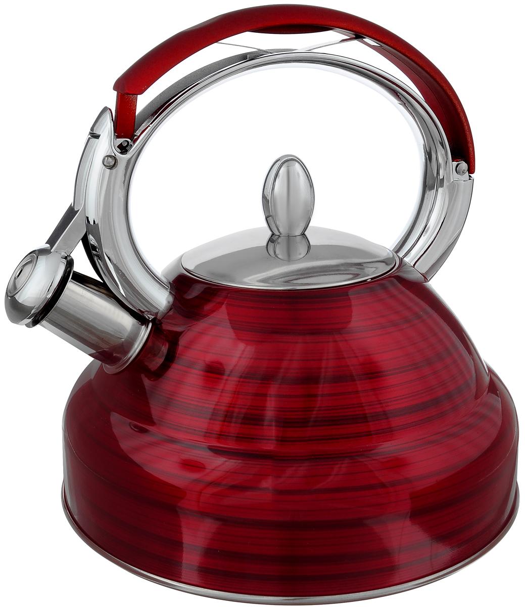Чайник Mayer & Boch, со свистком, цвет: красный, 2,7 л. 2320523205Чайник Mayer & Boch выполнен из высококачественной нержавеющей стали, что делает его весьма гигиеничным и устойчивым к износу при длительном использовании. Носик чайника оснащен насадкой-свистком, что позволит вам контролировать процесс подогрева или кипячения воды. Фиксированная ручка, изготовленная из нейлона и цинка, дает дополнительное удобство при разлитии напитка. Поверхность чайника гладкая, что облегчает уход за ним. Эстетичный и функциональный, с эксклюзивным дизайном, чайник будет оригинально смотреться в любом интерьере. Подходит для всех типов плит, включая индукционные. Можно мыть в посудомоечной машине. Высота чайника (без учета ручки и крышки): 11,5 см. Высота чайника (с учетом ручки и крышки): 24 см. Диаметр чайника (по верхнему краю): 10 см.