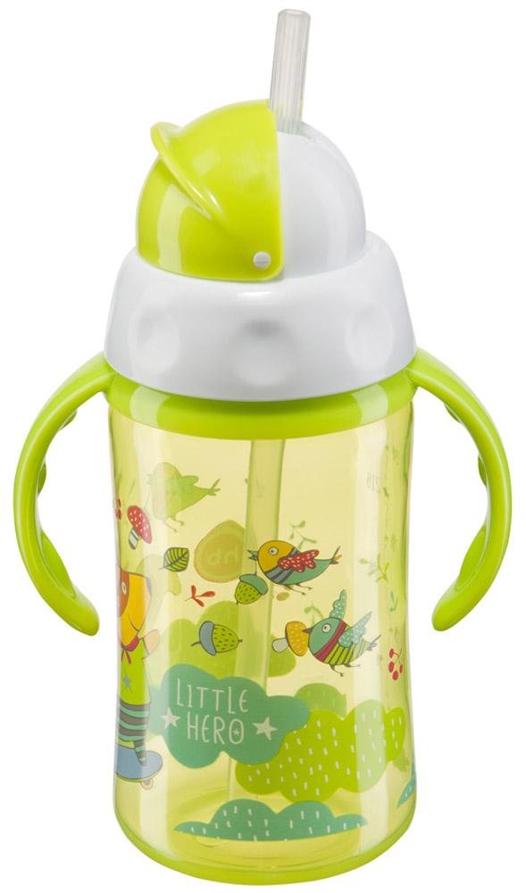 Happy Baby Бутылочка-поильник Cheese Fan с трубочкой от 12 месяцев цвет салатовый 240 мл