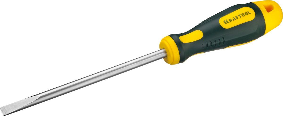 Отвертка Kraftool Expert, SL, 8,0x150мм250071-8.0-150Отвертка KRAFTOOL EXPERT, Cr-Mo-V сталь, двухкомпонентная противоскользящая рукоятка, SL, 8,0x150мм