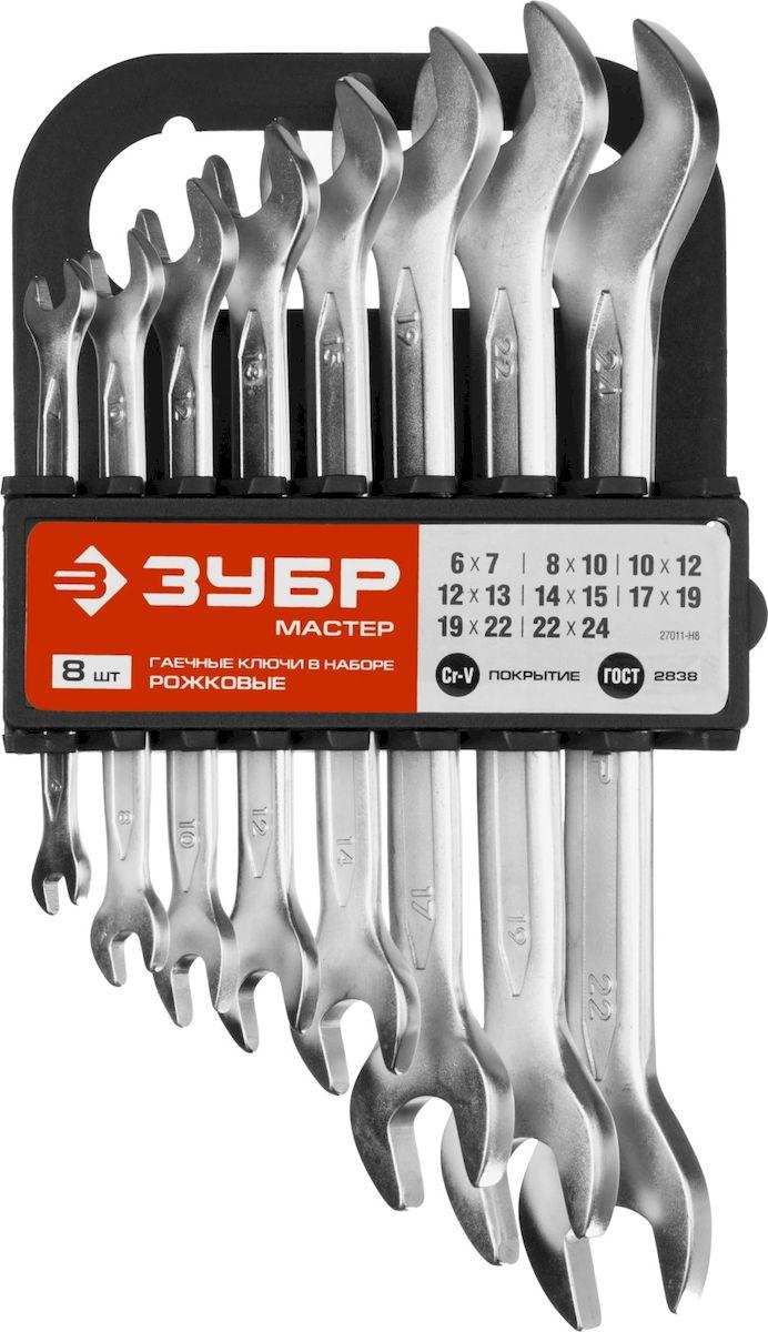 Набор ключей рожковых Зубр Мастер, 8 предметов27011-H8Набор рожковых гаечных ключей Зубр Мастер предназначен для профессионального применения в решении сантехнических, строительных и авторемонтных задач, а также для бытового использования. Ключи изготовлены из высококачественной хромованадиевой стали. В набор входят: Пластиковый держатель; Ключи: 6 х 7, 8 х 10, 10 х 12, 12 х 13, 14 х 15, 17 х 19, 19 х 22, 22 х 24 мм.