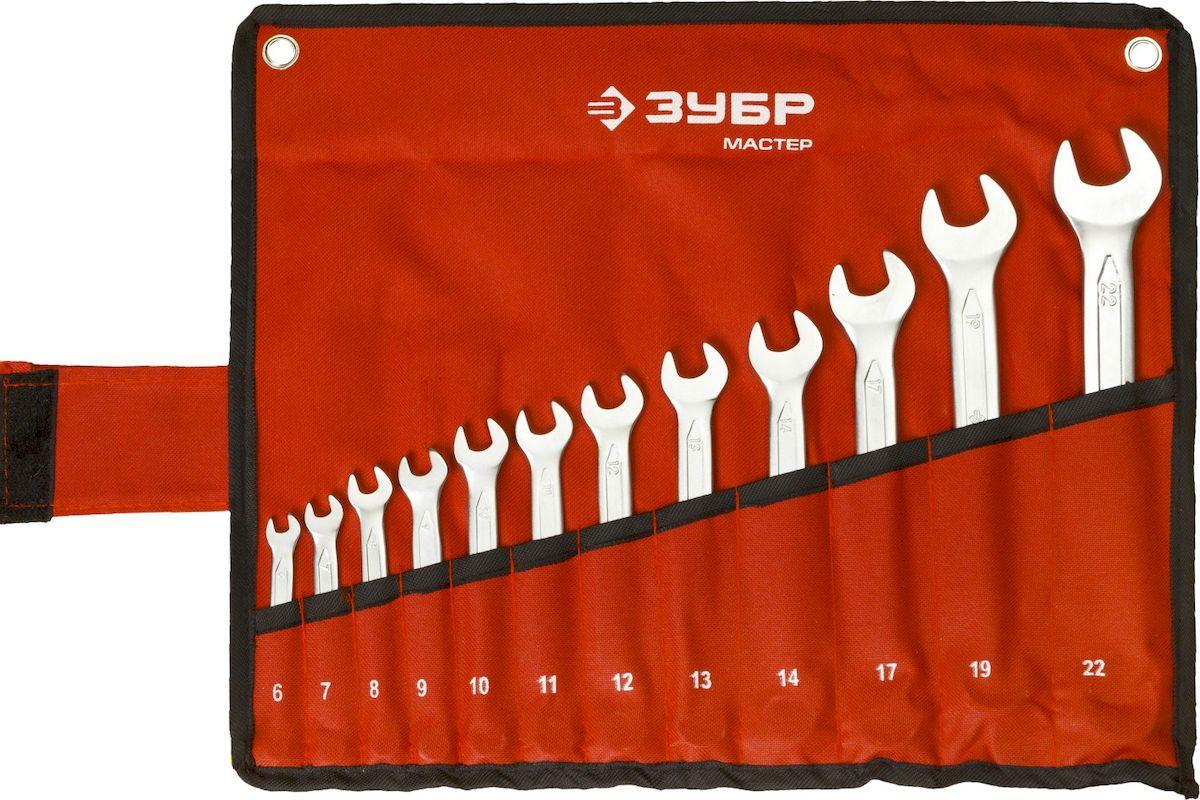 Набор комбинированных гаечных ключей Зубр Мастер, 6-22 мм, 12 шт27087-H12Комбинированные ключи Зубр Мастер изготовлены из высококачественной хромованадиевой стали с многоступенчатой закалкой для увеличения ресурса ключа, а также обладают надежным хромированным покрытием для защиты от коррозии. Рабочие характеристики соответствуют ГОСТ 2838. Применяется для работ с шестигранным крепежом. В комплекте чехол для переноски и хранения. Размер ключей: 6 мм, 7 мм, 8 мм, 9 мм, 10 мм, 11 мм, 12 мм, 13 мм, 14 мм, 17 мм, 19 мм, 22 мм.