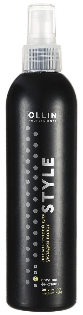 Ollin Лосьон-спрей для укладки волос средней фиксации Style Lotion-Spray Medium 250 мл721166Ollin Style Lotion-Spray Medium - Лосьон-спрей для укладки волос средней фиксации. Благодаря особым свойствам состава лосьон-спрей Ollin lotion-spray medium позволяет прекрасно оформить стрижку. Идеален для всех типов волос. Спрей Ollin не оставляет следов, легко счёсывается.