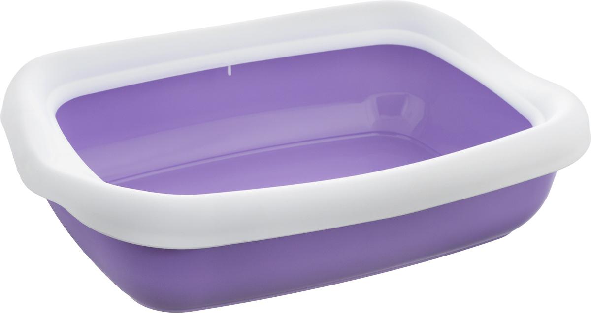 Туалет для кошек MPS Beta, с бортом, цвет: сиреневый, белый, 43 х 31 х 12,5 смS08040100_сиреневый, белыйТуалет для кошек MPS Beta изготовлен из высококачественного пластика. Высокий борт, прикрепленный по периметру лотка, удобно защелкивается и предотвращает разбрасывание наполнителя. Такой туалет не впитывает неприятные запахи и прекрасно отмывается.
