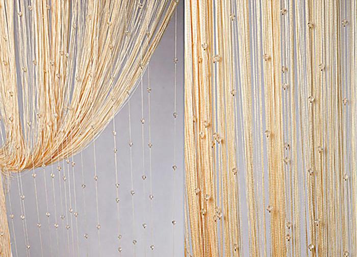 Штора нитяная Magnolia Кисея, цвет: золото, высота 300 см. XLF SJ 1354686Декоративная нитяная штора для дизайнерских решений в вашем доме. Подходит как для зонирования пространства, а так же декорации окна, как самостоятельное решение или дополнение к шторам.