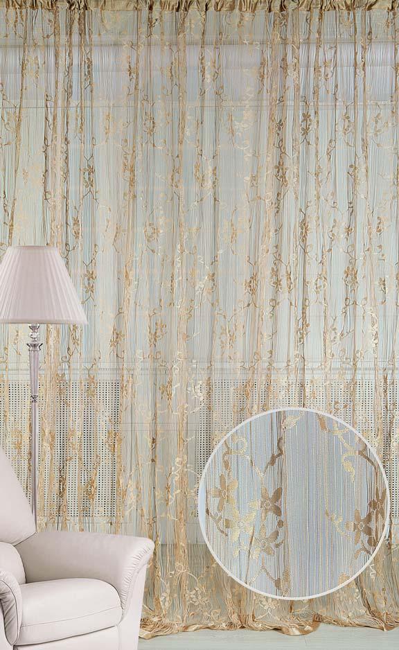 Штора нитяная Magnolia Кисея, цвет: золото, высота 250 см. CQ M 90008(14)68584Декоративная нитяная штора для дизайнерских решений в вашем доме. Подходит как для зонирования пространства, а так же декорации окна, как самостоятельное решение или дополнение к шторам.