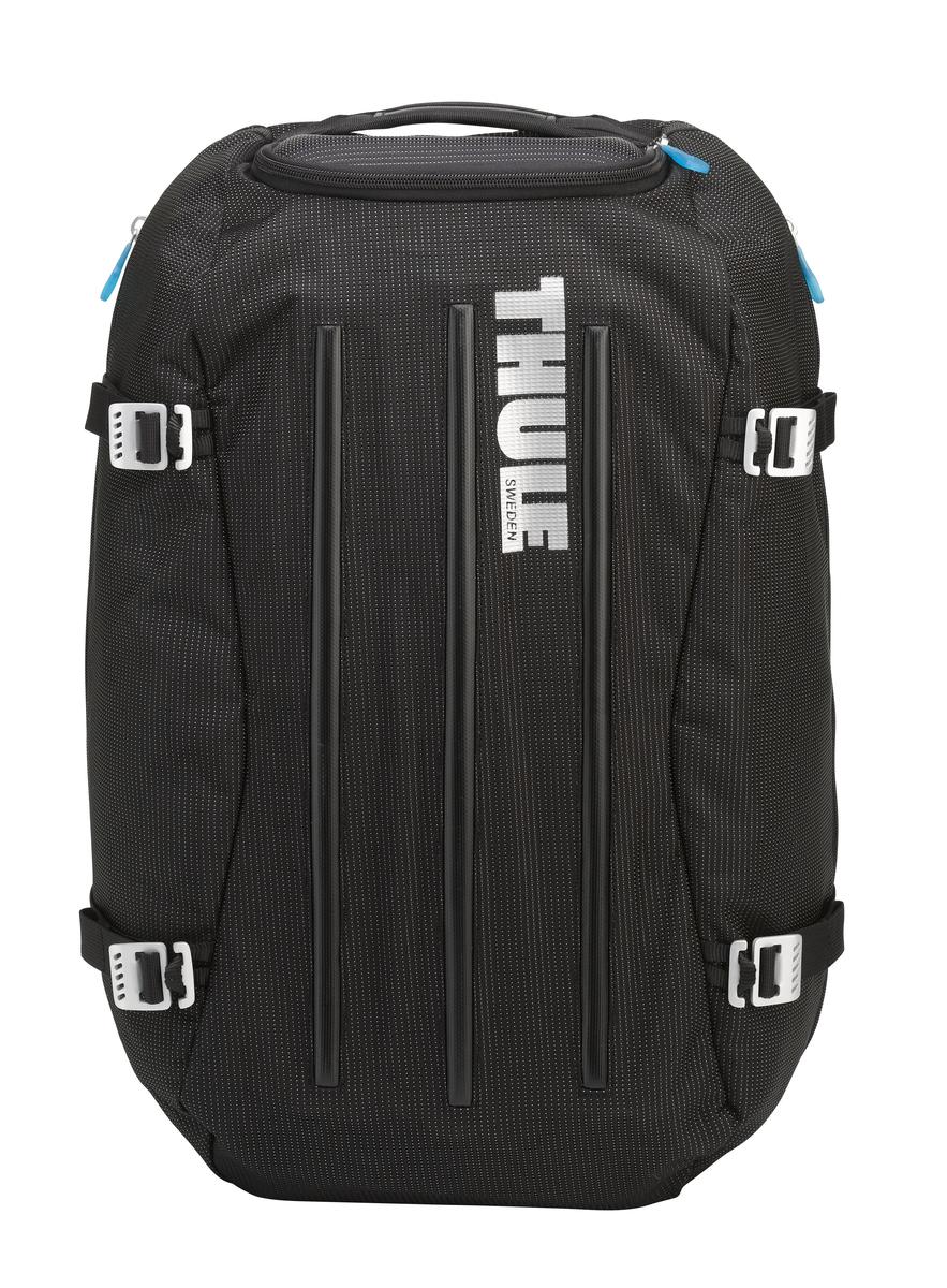 Сумка-рюкзак Thule Crossover Duffel Pack, цвет: черный, 40л. TCDP13201082Туристический рюкзак Thule Crossover 40L - Идеальная сумка для дальних путешествий. Этот гибрид рюкзака и спортивной сумки с молнией сзади обеспечивает сохранность любого содержимого. Алюминиевый каркас и водостойкий материал делают эту сумку легкой, но прочной Изготовленное по технологии горячей прессовки ударопрочное отделение SafeZone защитит ваши очки, портативную электронику и другие хрупкие вещи (отделение запирается и может быть удалено для освобождения дополнительного места). Приподнятые направляющие обеспечивают дополнительную защиту сумки и ее содержимого. Молния на задней стенке позволяет быстро достать из сумки необходимые вещи. Регулировочные ремни для подгонки размера сумки в зависимости от количества багажа Воздухопроницаемые ремни рюкзака Вместительные боковые отделы помогут отделить чистое от грязного, мокрое от сухого и деловое от повседневного.