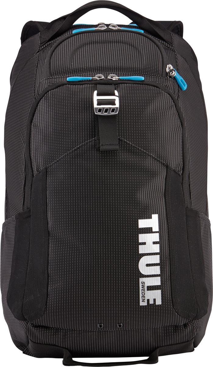 Рюкзак Thule Crossover Backpack, цвет: черный, 32 л7035.1В этот прочный рюкзак можно сложить вещи как для ежедневных поездок, так и для отдыха на выходных: в нем есть специальное отделение с дополнительной защитой для электронных устройств, вместительные отделения и отделения-органайзеры. Закрывающееся на молнию отделение с мягкой подкладкой для MacBook Pro 15 или ноутбука, iPad и накладной карман для вещей В ударопрочном отделении SafeZone для солнечных очков и хрупких вещей есть специальный карман для телефона. Отделение SafeZone можно закрыть на замок, а если нужно освободить дополнительное пространство, можно полностью убрать его. Карман Shove-it Pocket с регулируемыми ремешками обеспечивает дополнительное пространство для куртки или газеты. Перфорированные наплечные ремни из EVA с сетчатым покрытием и мягкая задняя подушка со специальными порами, пропускающими воздух, создают ощущение комфорта и позволяют вашей спине «дышать». Водостойкий материал и надежные застежки-молнии делают эту сумку легкой, но прочной. В отделе-органайзере можно хранить зарядные устройства и другие аксессуары, которые всегда должны быть под рукой, но не должны валяться где попало. Несколько удобных ручек для переноски. Боковые сетчатые карманы с двух сторон предназначены для хранения бутылок и аксессуаров.