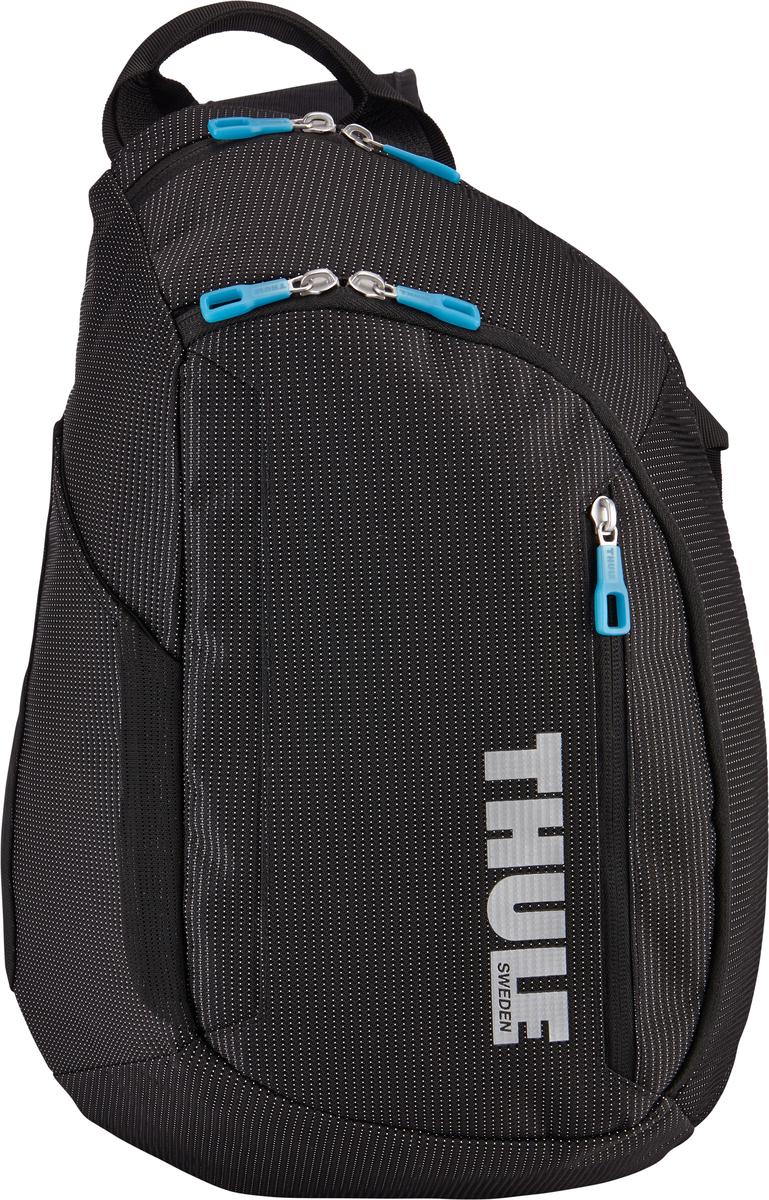 Рюкзак-слинг Thule Crossover Sling Pack, цвет: черный, 17 л7035.1Рюкзак на одной лямке Thule Crossoverпросто незаменим в дороге — настолько удобно в нем хранить разные туристические мелочи, а также электронные устройства. Внутренний отдел с мягкой прокладкой подойдет для MacBook Pro 13 или ноутбука. В органайзере можно хранить карты, журналы и электронные устройства. В удобно открывающиеся карманы можно положить еду, бутылку с водой и небольшие спортивные принадлежности. Водостойкий материал и надежные застежки-молнии делают эту сумку легкой, но прочной. Перфорированные наплечные ремни из EVA с сетчатым покрытием и мягкая задняя подушка со специальными порами, пропускающими воздух, создают ощущение комфорта и позволяют вашей спине «дышать». Плечевой ремень с потайным карманом для телефона или небольших предметов.