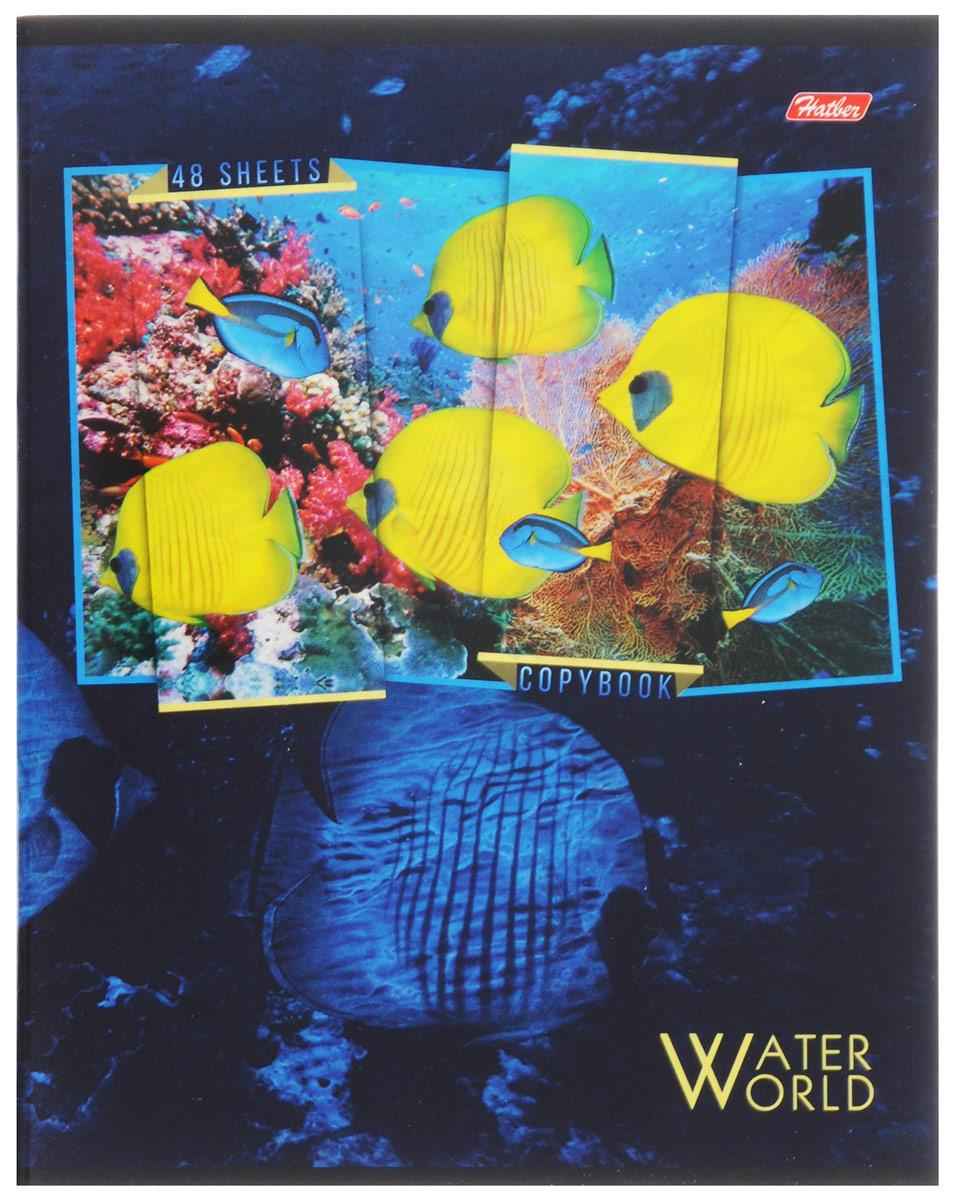 Hatber Тетрадь Водный мир 48 листов в клетку 48Т5вмВ1_1257448Т5вмВ1_12574Тетрадь Hatber Водный мир отлично подойдет для занятий школьнику, студенту, а также для различных записей. Обложка, выполненная из плотного картона, позволит сохранить тетрадь в аккуратном состоянии на протяжении всего времени использования. Обложка украшена изображением морских обитателей. Внутренний блок тетради, соединенный двумя металлическими скрепками, состоит из 48 листов белой бумаги. Стандартная линовка в клетку голубого цвета дополнена полями, совпадающими с лицевой и оборотной стороны листа. В верхнем углу каждой странички находится разделенное точками место для даты, в нижнем - пустые квадратики для номеров страниц.