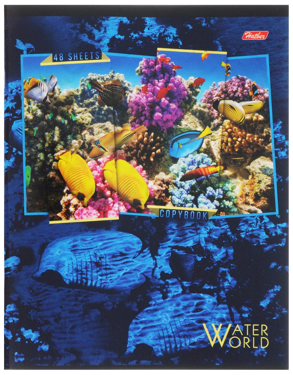 Hatber Тетрадь Водный мир 48 листов в клетку 48Т5вмВ1_1490772523WDТетрадь Hatber Водный мир отлично подойдет для занятий школьнику, студенту, а также для различных записей.Обложка, выполненная из плотного картона, позволит сохранить тетрадь в аккуратном состоянии на протяжении всего времени использования. Обложка украшена изображением морских обитателей.Внутренний блок тетради, соединенный двумя металлическими скрепками, состоит из 48 листов белой бумаги. Стандартная линовка в клетку голубого цвета дополнена полями, совпадающими с лицевой и оборотной стороны листа. В верхнем углу каждой странички находится разделенное точками место для даты, в нижнем - пустые квадратики для номеров страниц.