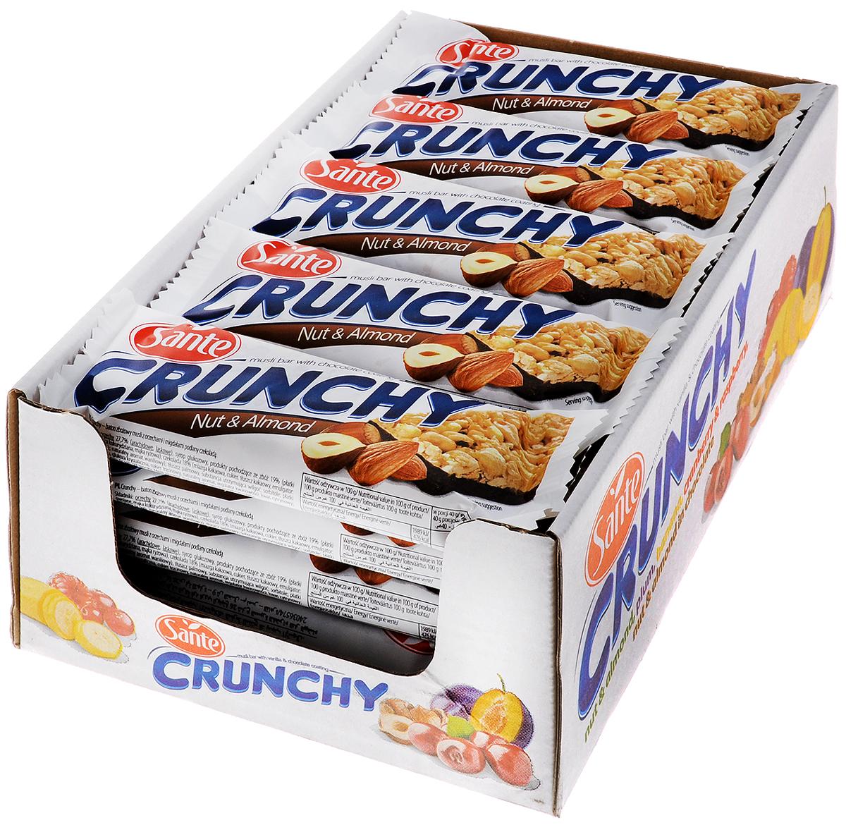 Sante Crunchy батончикмюслисорехамииминдалем в шоколаде,40г (25 шт)0120710БатончикмюслиSante Crunchy имеет высокую питательную ценность и прекрасные вкусовые качества. Батончики являются прекрасной альтернативой высококалорийным шоколадным батончикам.