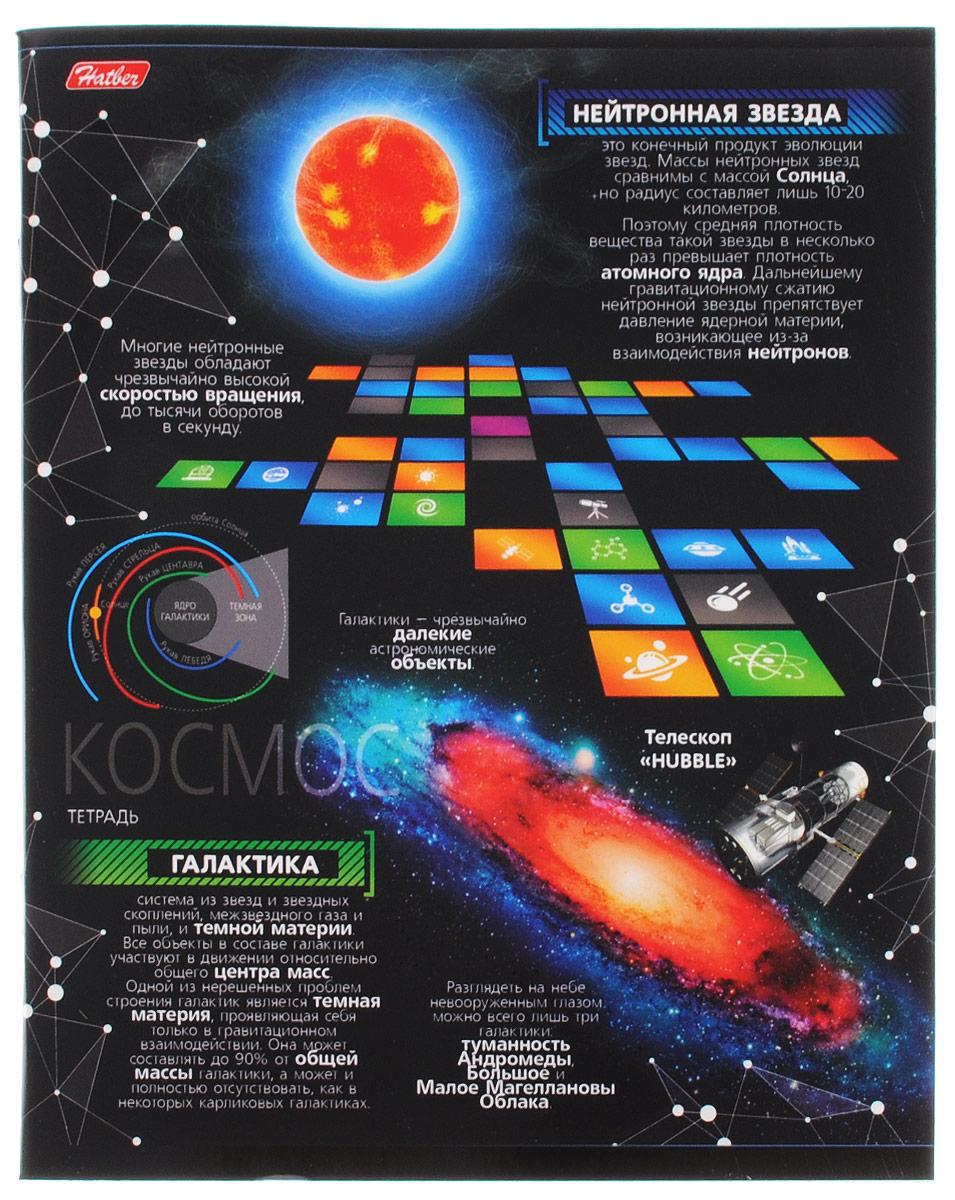Hatber Тетрадь Космос 48 листов в клетку 48Т5вмВ1_1498472523WDТетрадь Hatber Космос отлично подойдет для занятий школьнику, студенту, а также для различных записей.Обложка, выполненная из плотного картона, позволит сохранить тетрадь в аккуратном состоянии на протяжении всего времени использования. Обложка оформлена изображением различных астрономических объектов и дополнена полезной информацией о некоторых из них. Внутренний блок тетради, соединенный двумя металлическими скрепками, состоит из 48 листов белой бумаги. Стандартная линовка в клетку голубого цвета дополнена полями, совпадающими с лицевой и оборотной стороны листа. В верхнем углу каждой странички находится разделенное точками место для даты, в нижнем - пустые квадратики для номеров страниц.