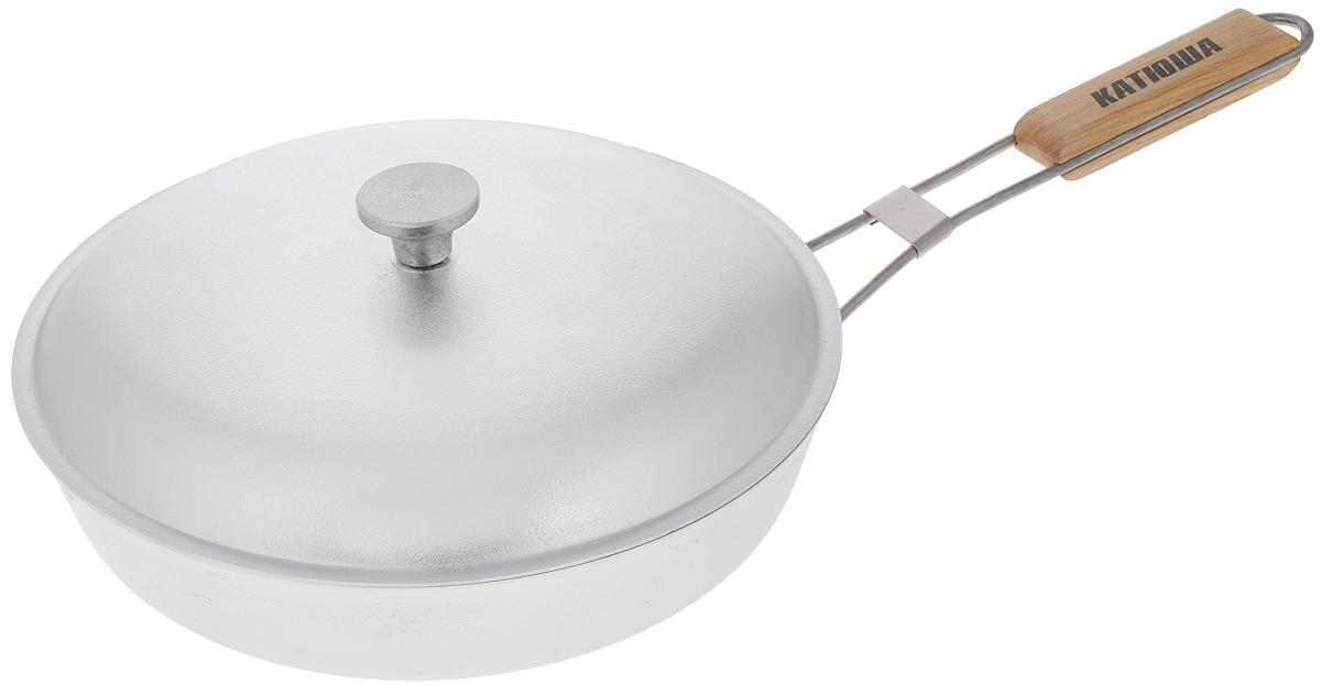 Сковорода Катюша, с откидной ручкой и крышкой. Диаметр 28 см сковороды bradex сковородка универсальная мастер жарки