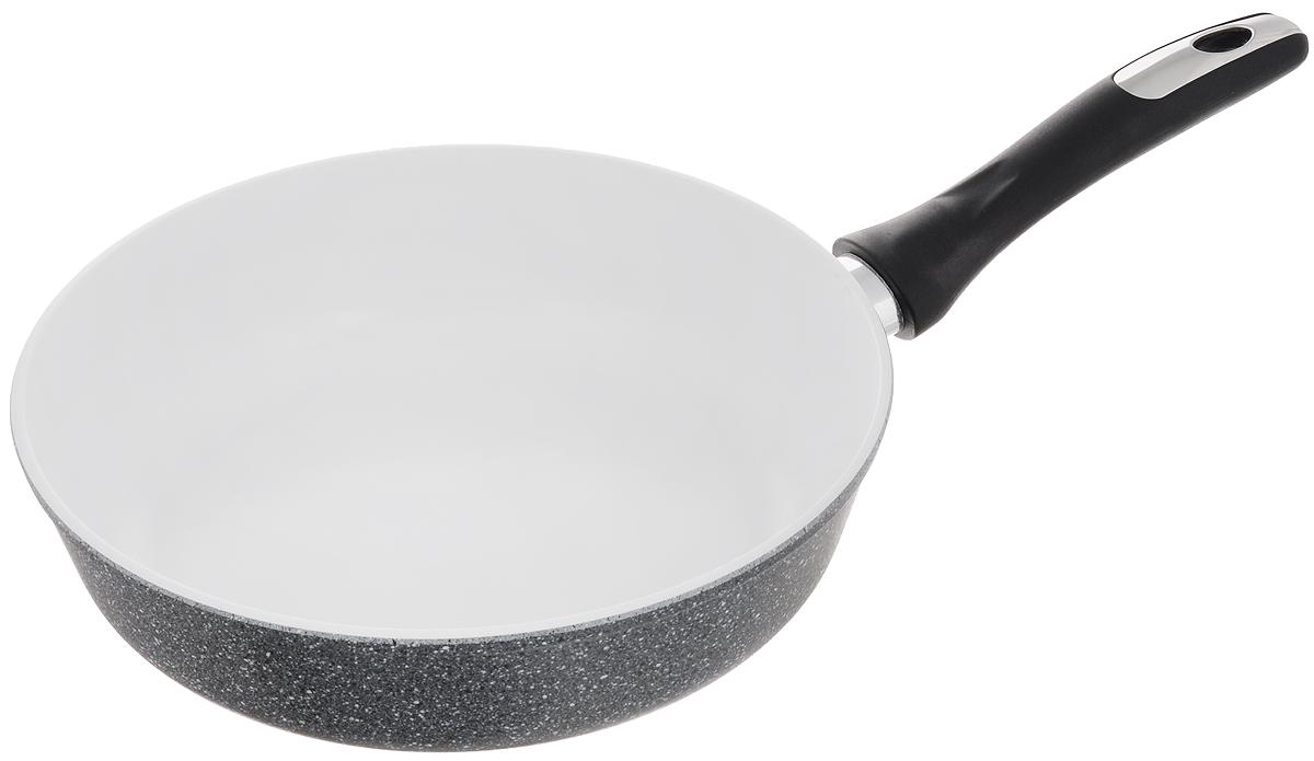Сковорода Катюша, с керамическим покрытием. Диаметр 26 см94672Сковорода Катюша изготовлена из высококачественного алюминия. Внутреннее керамическое покрытие предотвращает пригорание и обеспечивает быстрое и качественное приготовление пищи. Покрытие выдерживает температуру до 450°С и обладает высокой прочностью. При нагревании не выделяется вредной примеси PFOA, сковорода экологична и абсолютно безопасна для приготовления пищи. Утолщенное дно обеспечивает быстрый нагрев и равномерное распределение тепла по всей поверхности. Ручка, выполненная из пластика, не нагревается в процессе готовки и обеспечивает надежный хват.Подходит для всех типов плит, кроме индукционных. Можно мыть в посудомоечной машине. Высота стенки: 7,3 см. Длина ручки: 19 см.