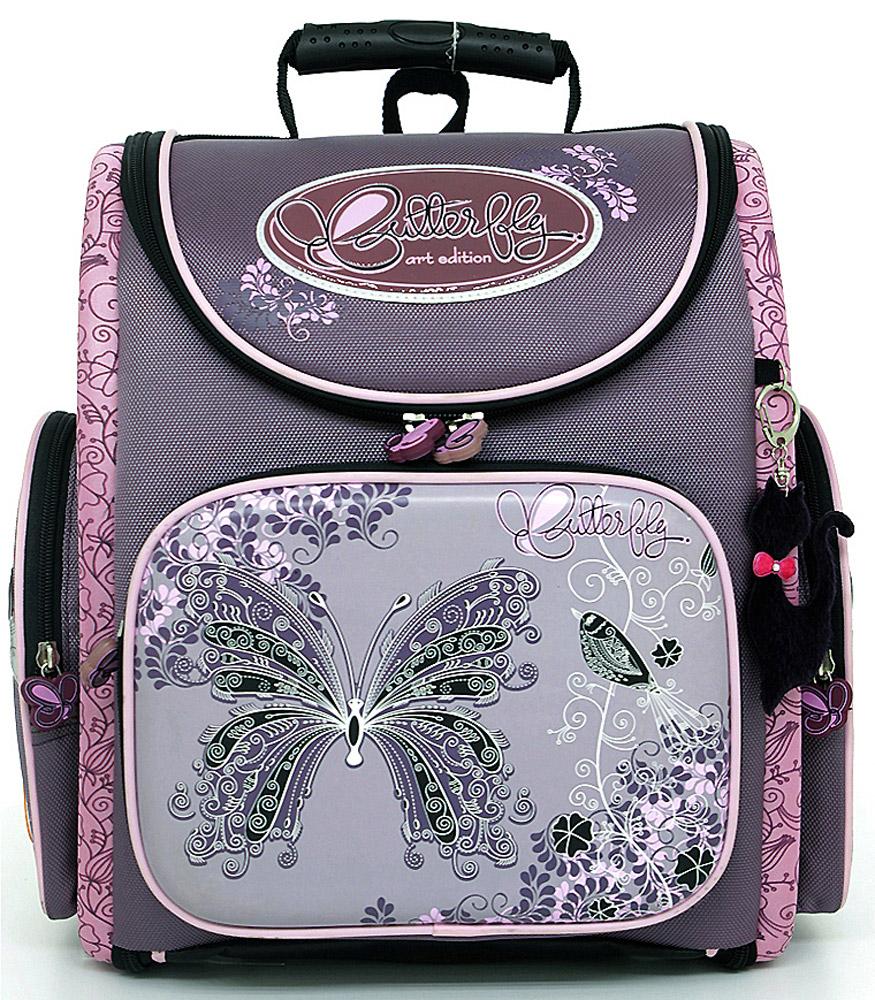 Ранец школьный Hummingbird Butterfly, цвет: фиолетовый, розовый. K34K34Эргономичный школьный ранец с жесткой конструкцией Hummingbird Butterfly выполнен из современного пористого EVA материала, отличающегося легкостью и долговечностью. Изделие оформлено изображением бабочки и дополнено мягким брелоком в форме машинки, хлястики на бегунках молний выполнены также в форме бабочек. Ранец имеет одно основное отделение, закрывающееся на молнию. Ранец полностью раскладывается. Внутри главного отделения расположены: накладной сетчатый карман, два накладных кармана с жесткими стенками и резинкой-фиксатором, два накладных пластиковых кармашка. Пластиковые кармашки предназначены для расписания уроков и для вкладыша с адресом и ФИО владельца(вкладыши для заполнения идут в комплекте). На лицевой стороне ранца расположен накладной карман на молнии, который содержит: пять накладных кармашков для письменных принадлежностей и мелочей (один из кармашков сетчатый на молнии), карабин для ключей и карман для телефона на липучке. По бокам ранца...