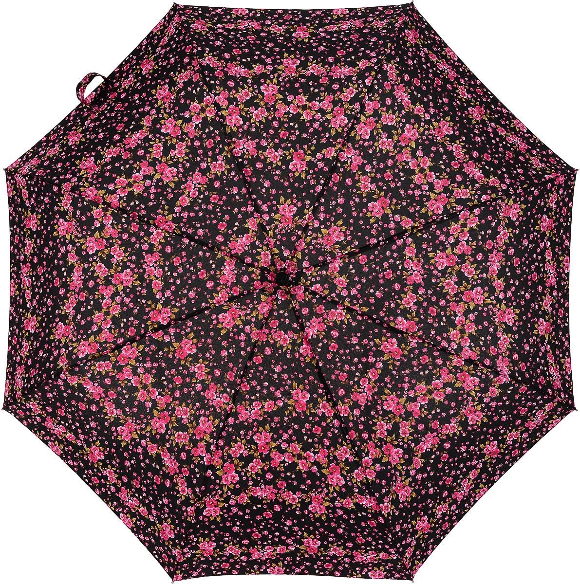 Зонт женский Fulton, механический, 3 сложения, цвет: черный, малиновый. L354-2765 L354-2765 SweetWilliam