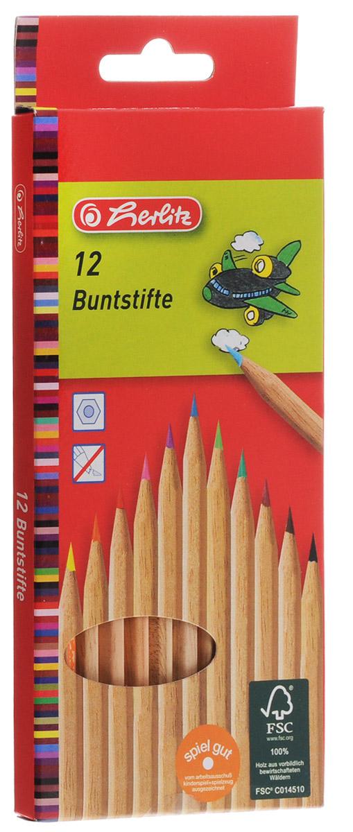 Herlitz Набор цветных карандашей 12 шт8660086Цветные карандаши Herlitz имеют мягкий грифель, яркие насыщенные цвета. Карандаши легко затачиваются, идеально подходят для рисования детям. Корпус карандашей неокрашенный. В наборе 12 цветных карандашей в картонной упаковке.