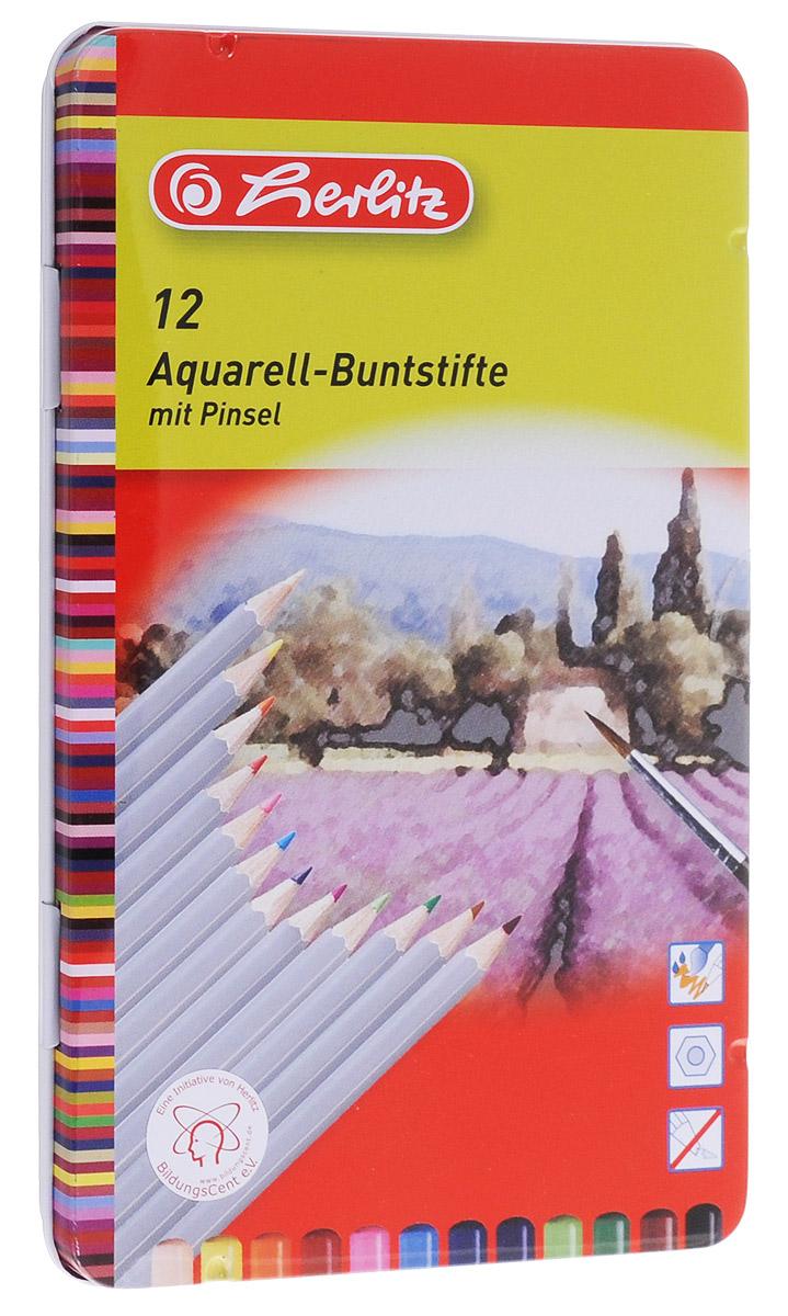 Herlitz Набор карандашей акварельных 12 цветов10795284Набор акварельных карандашей Herlitz поможет создать чудные картины. При размывании кисточкой водой карандаши создают эффект рисунка акварелью. Яркие цвета линий, штрихи мягко ложатся на бумагу, грифель устойчив к механическим деформациям, легко затачивается. В набор входят 12 цветных карандашей и кисточка. Прочная металлическая коробка, в которую вложен набор, не позволит карандашам растеряться и заметно продлевает их срок службы.
