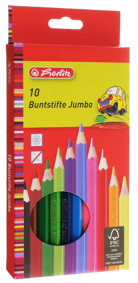 Herlitz Набор цветных карандашей 10 шт10795276Корпус цветных карандашей Herlitz изготовлен из натуральной древесины и покрыт лаком на водной основе. Карандаши легко и аккуратно затачиваются, имеют яркие насыщенные цвета. Мягкий грифель легко рисует на бумаге и не царапает ее. В наборе 10 цветных карандашей.