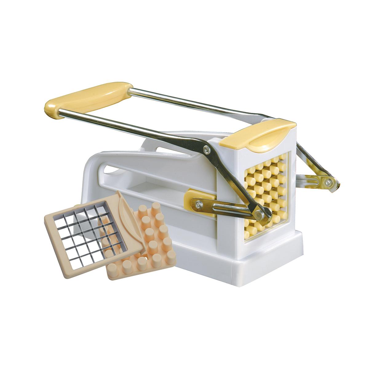 Устройство для резки картофеля фри Dekok, цвет: белый, желтыйUKA-1305Устройство снабжено вакуумной основанием для ее надежной фиксации на рабочем столе. В комплект входят две сменные насадки-решетки - на 25 и 36 ячеек.