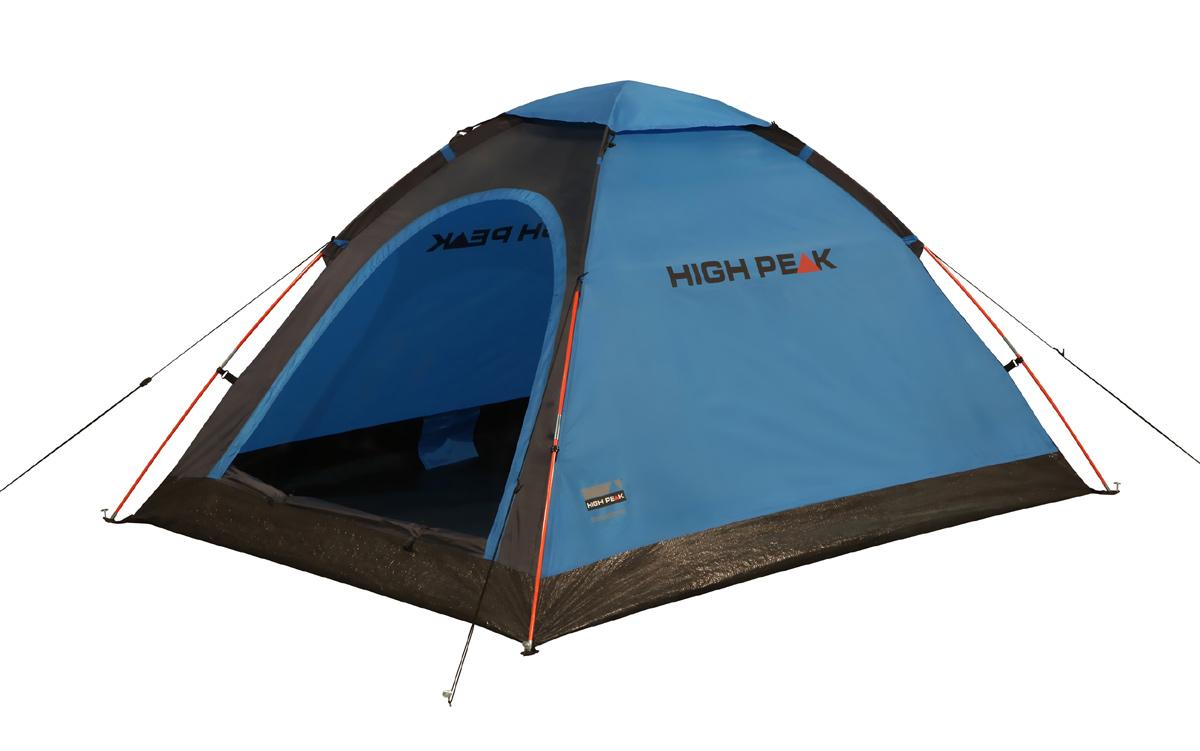 Палатка легкая High Peak Monodome PU 2, цвет: синий10158Легкая компактная палатка купольного типа для легкоходов и рыбаков. Палатка проста в установке, дуги продеваются в рукава на внешнем тенте, что позволяет устанавливать палатку и в дождь. Материал тента имеет полиуретановое покрытие и водонепроницаемость не менее 1500 мм водяного столба. Это позволяет защититься от ветра и дождя. Вентиляционное окно расположено в верхней точке купола палатки и защищено тканевым грибом. Палатка имеет четыре оттяжки, что надежно ее фиксирует во время ветреной погоды. Вход в палатку защищает тканевый полог, а если погода жаркая, то можно оставить только москитную сетку на входе. Дно палатки выполнено из армированного полиэтилена, водонепроницаемость 3000 мм. Палатка двухместная.