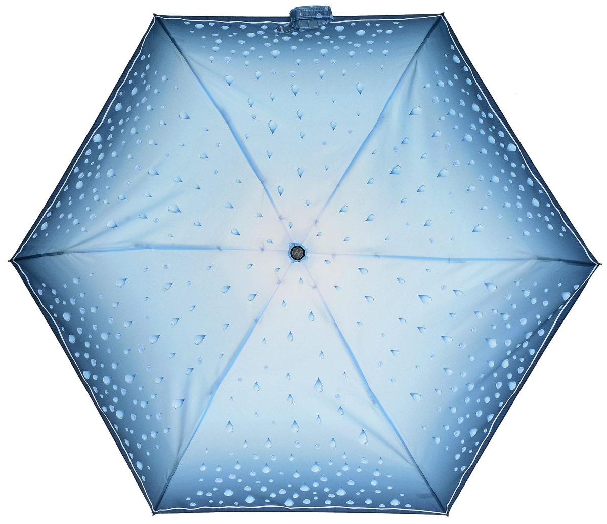 Зонт женский Henry Backer, 5 сложений, цвет: голубой. U34202 Rain drops45100948B/32793/5900NЛегкий женский зонт «Капли дождя», голубой, механика Рукоять выполнена из нескользящего комфортного для ладони материала, ветроустойчивый каркас сделан из алюминия и фибергласса.