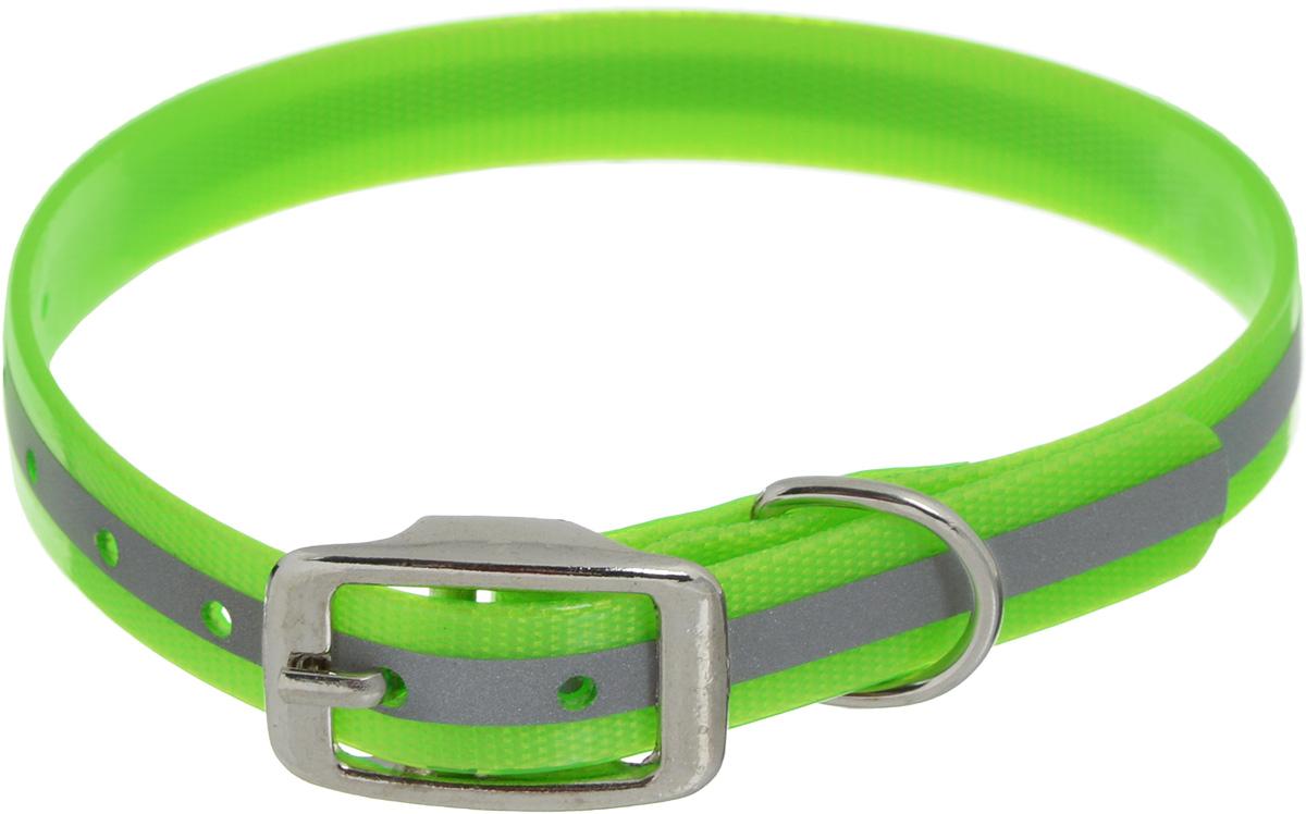 """Ошейник для собак Каскад """"Синтетик"""", со светоотражающей полосой, цвет: салатовый, ширина 1,5 см, обхват шеи 26-35 см 00215352-05"""
