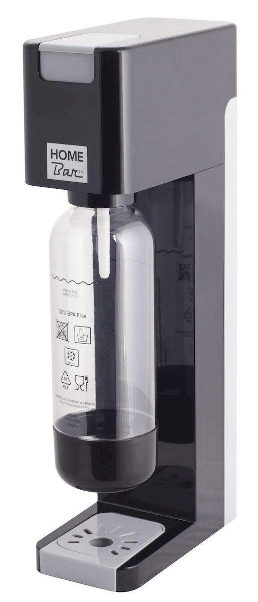 Сифон Home Bar Smart 110 NG, без баллона, цвет: черный, серыйVT-1520(SR)Сифон для газирования воды Home Bar Smart 110 NG имеет классический дизайн, четкие линии, а также компактные размеры, что позволит ему найти достойное место на любой кухне. Это усовершенствованная модель с автоматическим сбросом давления. Сифон предназначен для газирования чистой охлажденной воды. Рекомендуемая температура воды 5°С. Чтобы приготовить газированный напиток или коктейль, добавьте в газированную воду сироп (продаются отдельно). Особенности: - Автоматический сброс давления.- 3 уровня газирования воды (слабый, средний, сильный). - Не требует электроэнергии.- Совместим с баллонами SODASTREAM.- Вкручивающийся разъем для установки баллона.- Состав бутылки не содержит бисфенол A.- Съемный поддон для капель.Для использования сифона требуется баллон 425 г на 60 литров воды. Приобретается отдельно. Баллон многоразовый, пустой баллон можно заправить углекислым газом. Готовьте свои любимые напитки дома, ведь с Smart 110 NG теперь это так просто, быстро и удобно. Высота бутылки (с крышкой): 28 см. Объем бутылки: 1 л. Размер сифона: 20 х 10 х 44 см.