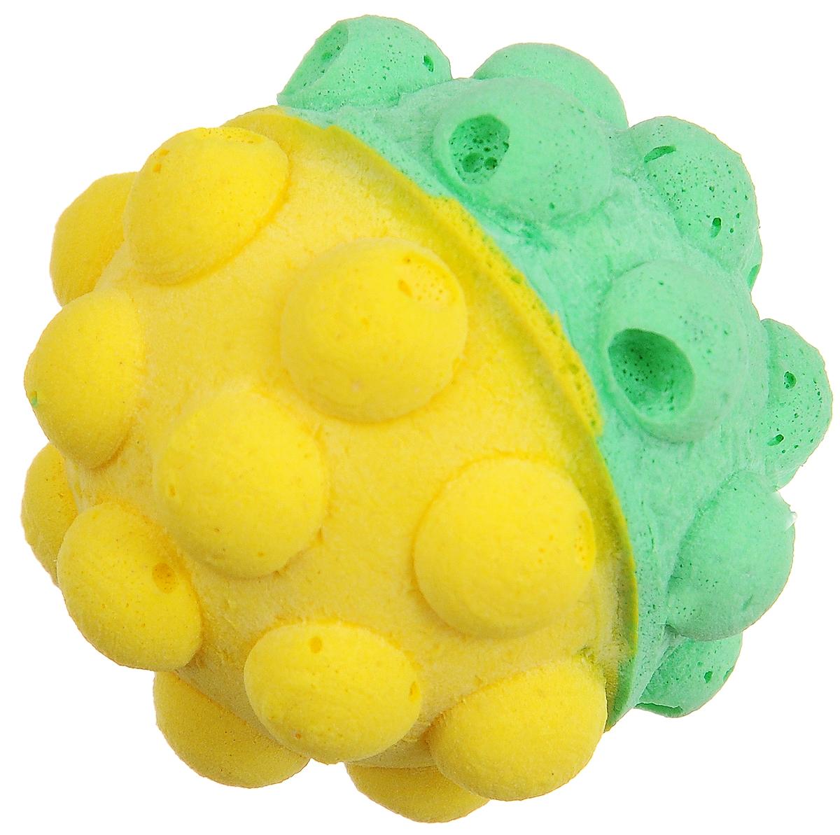 Игрушка для животных Каскад Мячик зефирный. Мина, цвет: зеленый, желтый, диаметр 4,5 см0120710Мягкая игрушка для животных Каскад Мячик зефирный. Мина изготовлена из вспененного полимера.Такая игрушка порадует вашего любимца, а вам доставит массу приятных эмоций, ведь наблюдать за игрой всегда интересно и приятно.Диаметр игрушки: 4,5 см.