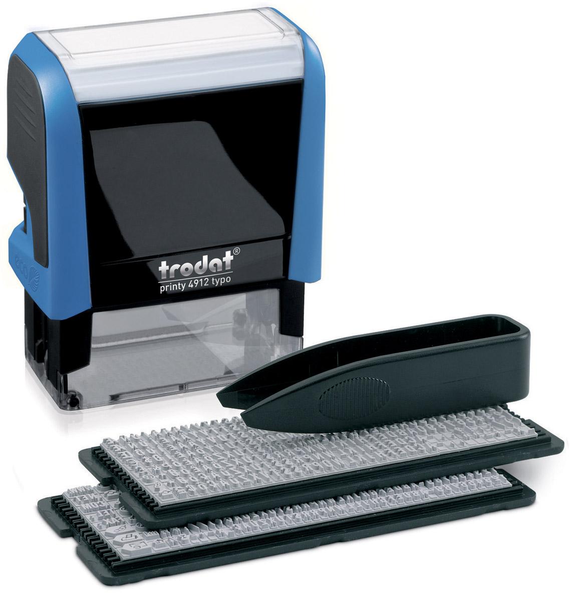 Trodat Штамп самонаборный четырехстрочный 47 х 18 мм4912/DBСамонаборный четырехстрочный русифицированный штамп Trodat с автоматическим окрашиванием будет незаменим в отделе кадров или в бухгалтерии любой компании. Прочный пластиковый корпус гарантирует долговечное бесперебойное использование. Оттиск проставляется практически бесшумно, легким нажатием руки. Улучшенная конструкция и видимая площадь печати гарантируют качество и точность оттиска. Символы надежно закрепляются в текстовой пластине. Модель оснащена кнопками блокировки и кнопочным механизмом замены подушки. Сменную штемпельную подушку необходимо заменять при каждом изменении текста. В комплект также входят: сменная подушка, пинцет, 2 кассы символов. Trodat - идеальный штамп для ежедневного использования в офисе, гарантирующий получение чистых и четких оттисков. Идеально подходит к самым разным требованиям в повседневной офисной жизни.