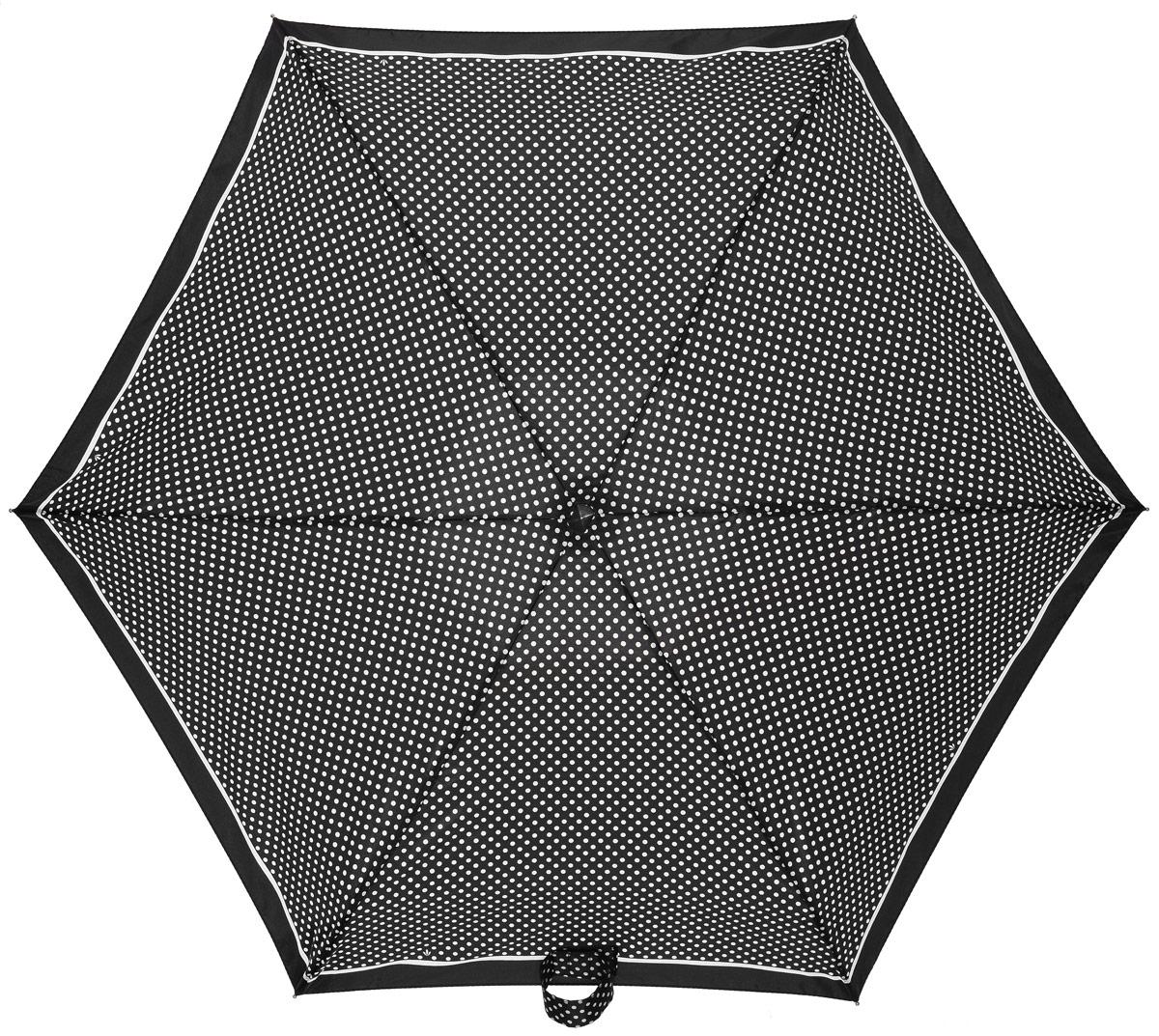 Зонт женский Fulton, механический, 5 сложений, цвет: черный, белый. L501-224845100948B/32793/5900NКомпактный женский зонт Fulton выполнен из металла и пластика.Каркас зонта выполнен из шести спиц на прочном алюминиевом стержне. Купол зонта изготовлен из прочного полиэстера. Закрытый купол застегивается на хлястик с липучкой. Практичная рукоятка закругленной формы разработана с учетом требований эргономики и выполнена из каучука.Зонт складывается и раскладывается механическим способом.Зонт дополнен легким плоским чехлом. Такая модель не только надежно защитит от дождя, но и станет стильным аксессуаром.