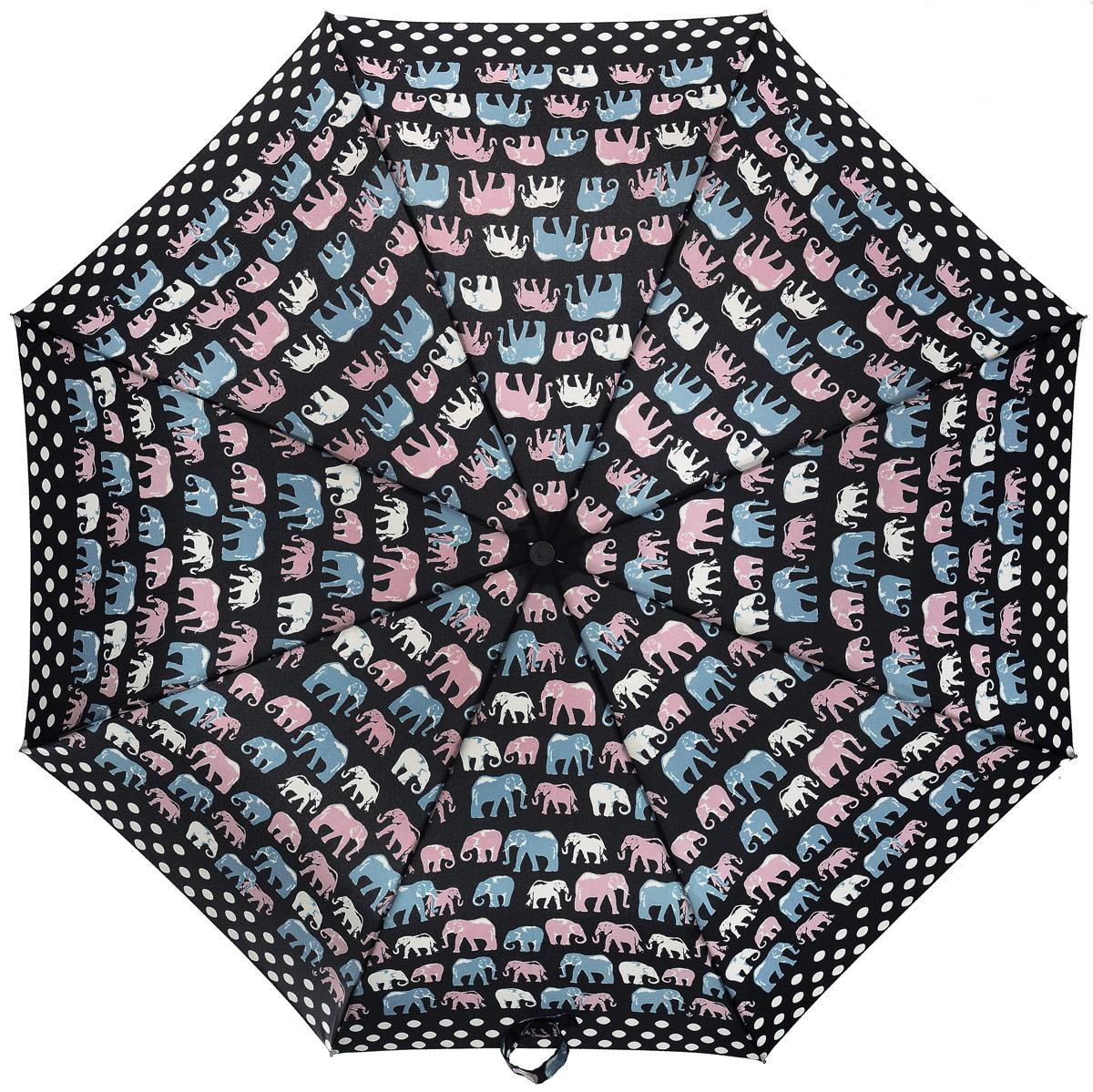 Зонт женский Fulton, механический, 3 сложения, цвет: черный, мультиколор. L354-303445100948B/32793/5900NСтильный зонт Fulton имеет 3 сложения, даже в ненастную погоду позволит вам оставаться стильной. Легкий, но в тоже время прочный и ветроустойчивый каркас из фибергласса состоит из восьми спиц с износостойкими соединениями. Купол зонта выполнен из прочного полиэстера с водоотталкивающей пропиткой. Рукоятка разработанная с учетом требований эргономики, выполнена из настоящего каучука.Зонт механического сложения: купол открывается и закрывается вручную до характерного щелчка. Такой зонт не только надежно защитит вас от дождя, но и станет стильным аксессуаром, который идеально подчеркнет ваш неповторимый образ.