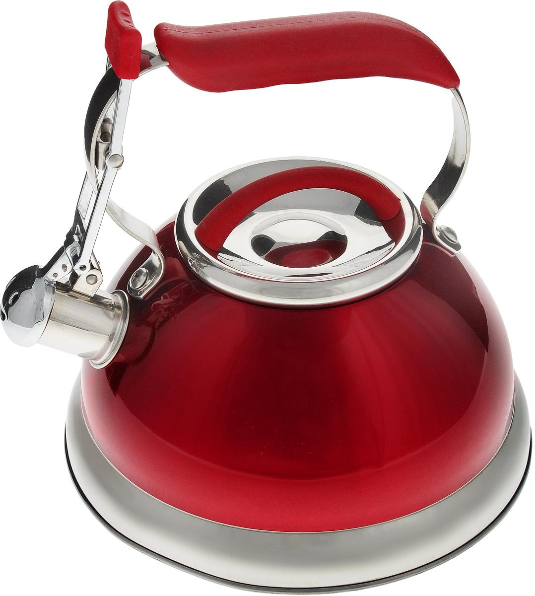 Чайник Calve, со свистком, цвет: красный, 2,7 лCL-1461_красныйЧайник Calve изготовлен из высококачественной нержавеющей стали с термоаккумулирующим дном. Нержавеющая сталь обладает высокой устойчивостью к коррозии, не вступает в реакцию с холодными и горячими продуктами и полностью сохраняет их вкусовые качества. Особая конструкция дна способствует высокой теплопроводности и равномерному распределению тепла. Чайник оснащен удобной пластиковой ручкой с покрытием Soft-Touch. Носик чайника имеет откидной свисток, звуковой сигнал которого подскажет, когда закипит вода. Подходит для всех типов плит, включая индукционные. Можно мыть в посудомоечной машине. Диаметр чайника (по верхнему краю): 10 см. Высота чайника (без учета ручки и крышки): 11,5 см. Высота чайника (с учетом ручки): 21 см.
