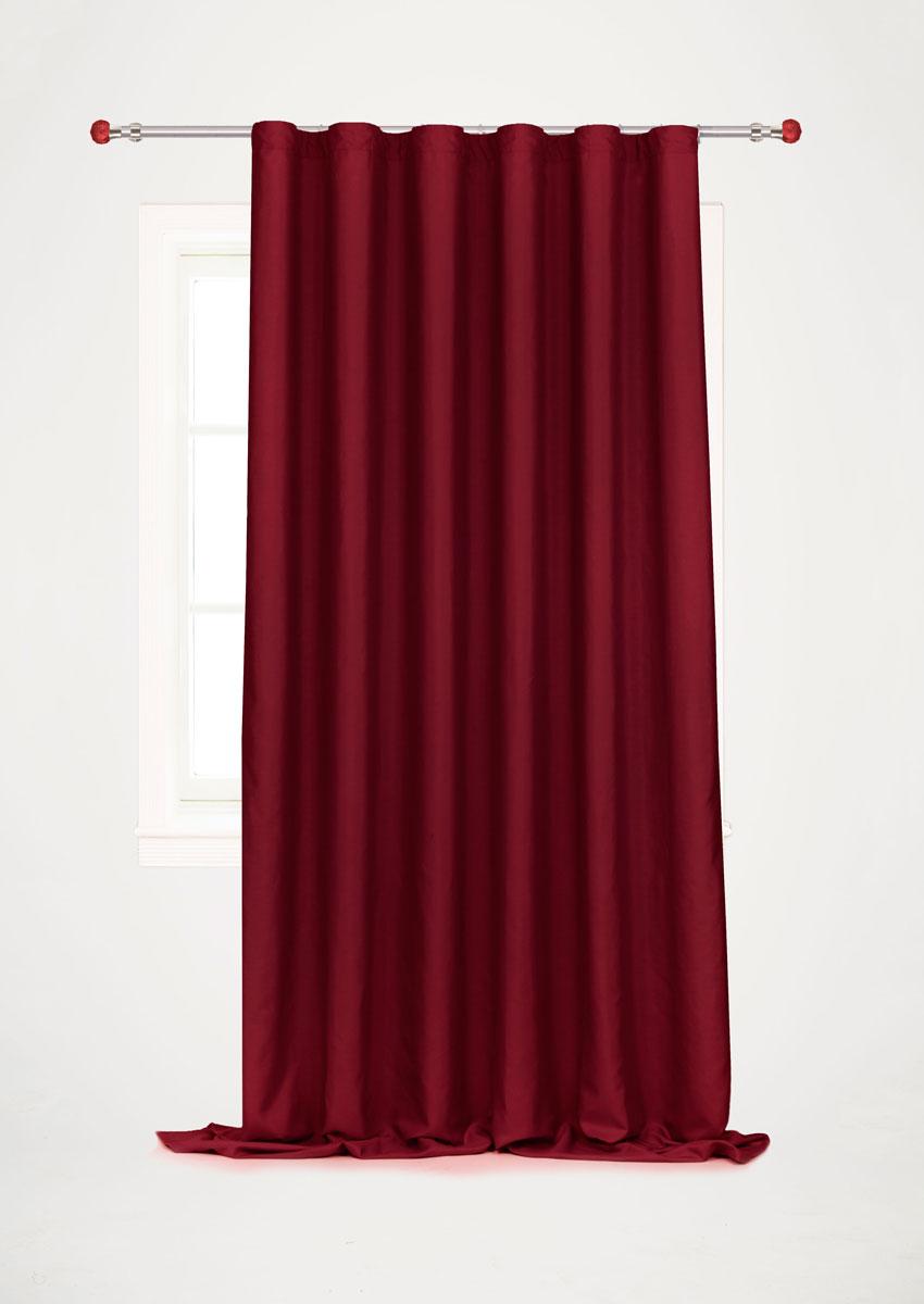 Штора для гостиной Garden, на ленте, цвет: бордовый, размер 200 x 260 смс w1223 V79150_бордоРоскошная штора-портьера Garden выполнена из сатина (100% полиэстера). Материал плотный и мягкий на ощупь. Оригинальная текстура ткани и нежный цвет привлекут к себе внимание и органично впишутся в интерьер помещения. Эта штора будет долгое время радовать вас и вашу семью! Штора крепится на карниз при помощи ленты, которая поможет красиво и равномерно задрапировать верх. Стирка при температуре 30°С.